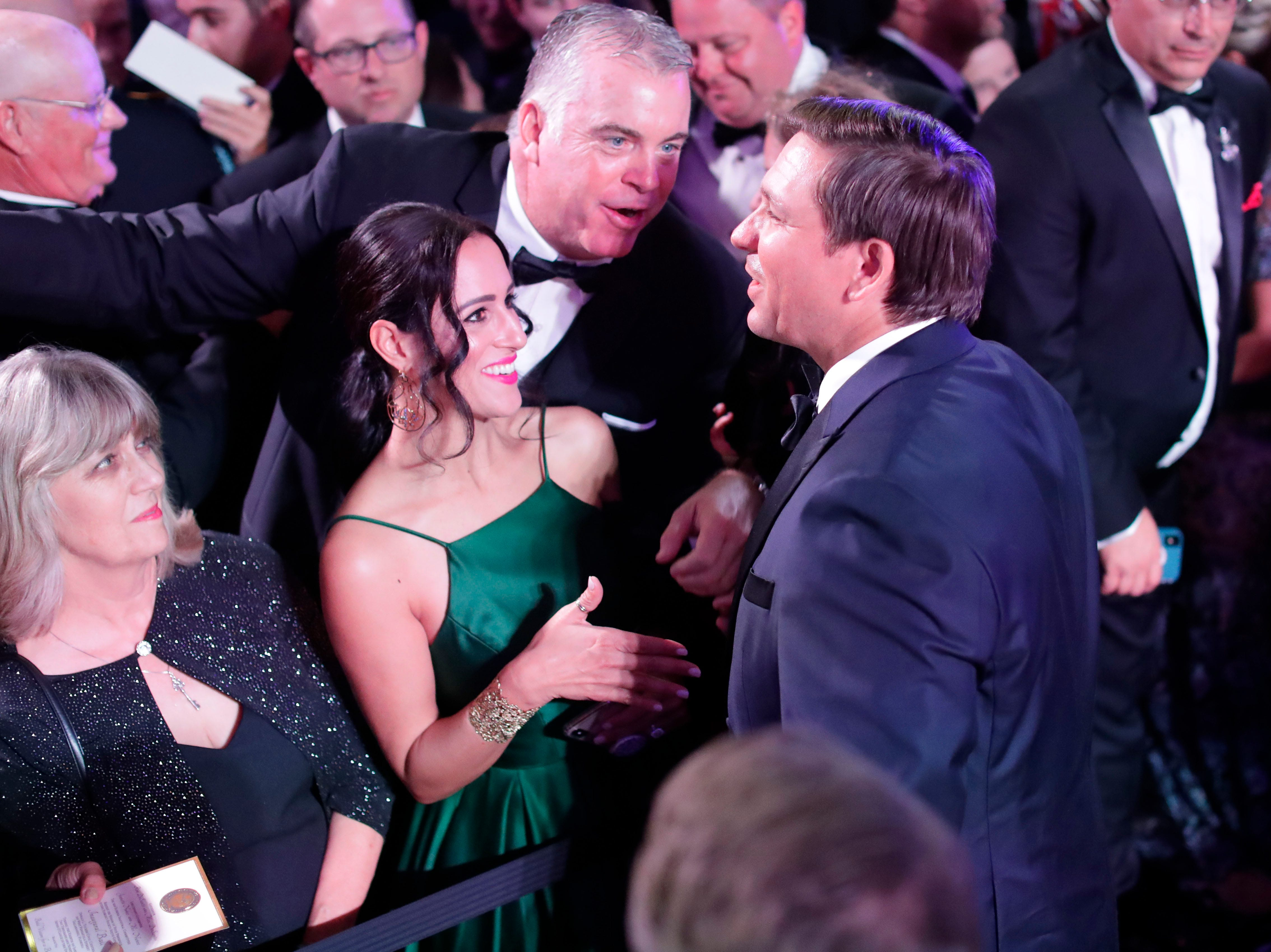 Hundreds of guests from all over Florida attend Florida's 46th Governor's Inaugural Ball at the Tucker Civic Center, Tuesday, Jan. 8, 2019. Gov. Ron DeSantis chats with guests.