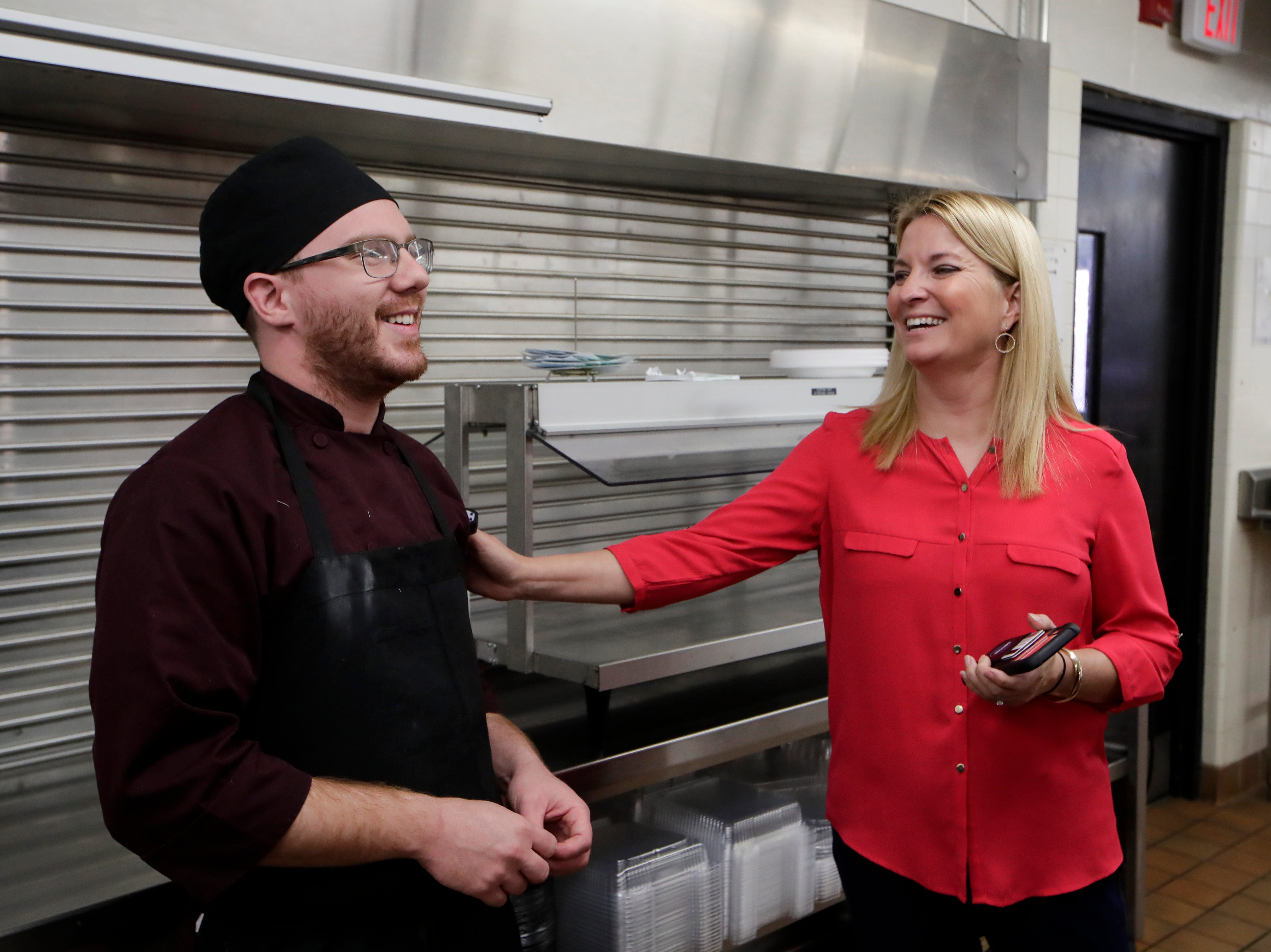 Lively Technical Director of Career, Technical and Adult Education Shelly Bell talks with culinary arts student Alex Malaspina in the kitchen Wednesday, Jan. 9, 2019 at Lively Technical Center which has been approved by the Leon County School Board to change it's name to Lively Technical College.