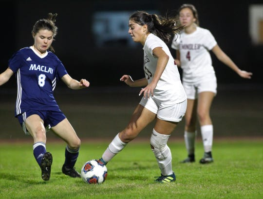 Florida High's Jailyn Castro tries to avoid the leg of Maclay's Katie Lynch as Maclay won 3-0 at home against Florida High on Jan. 8, 2019.