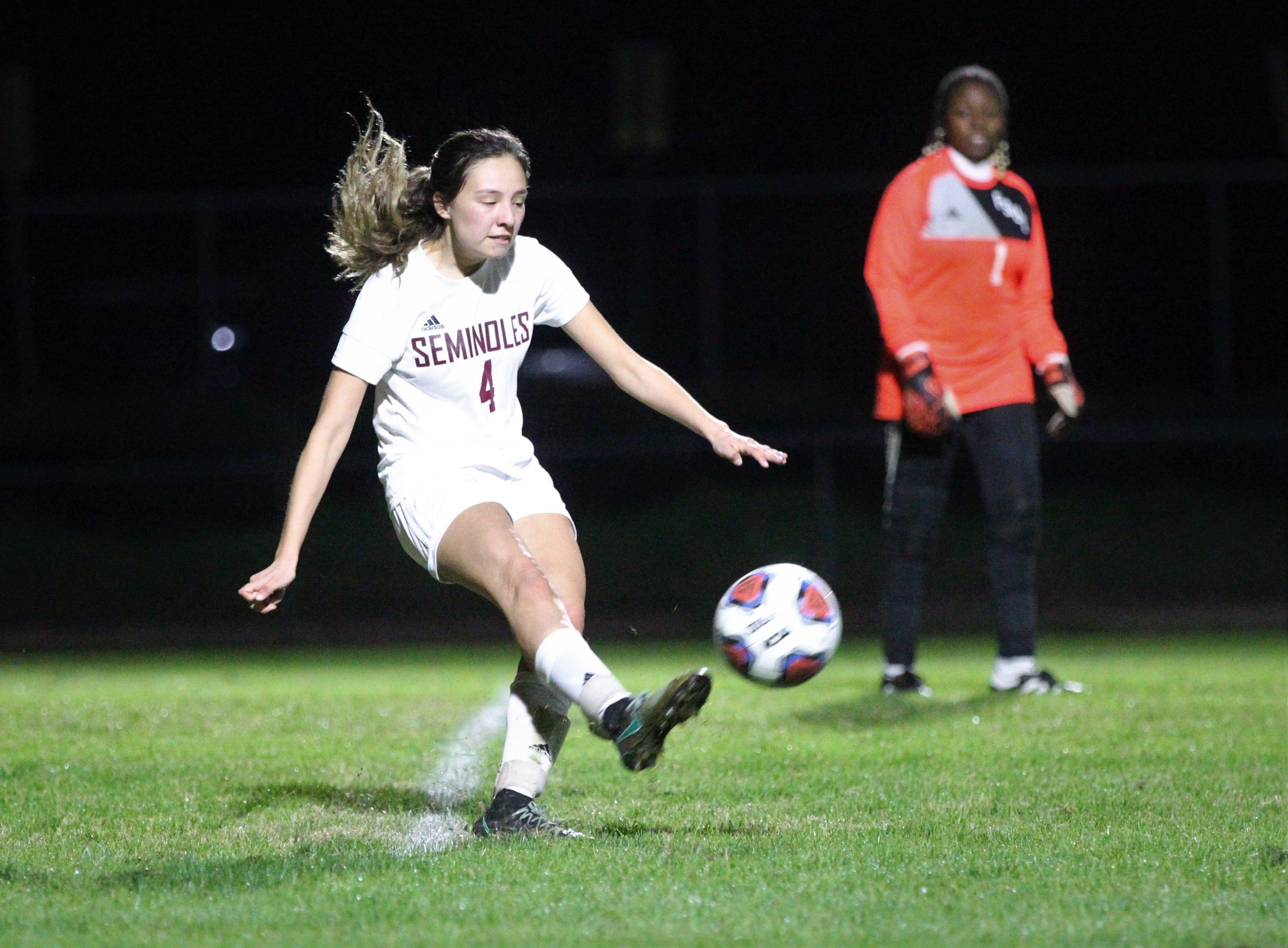 Florida High's Daphne Cervantes hits a goal kick as Maclay won 3-0 at home against Florida High on Jan. 8, 2019.