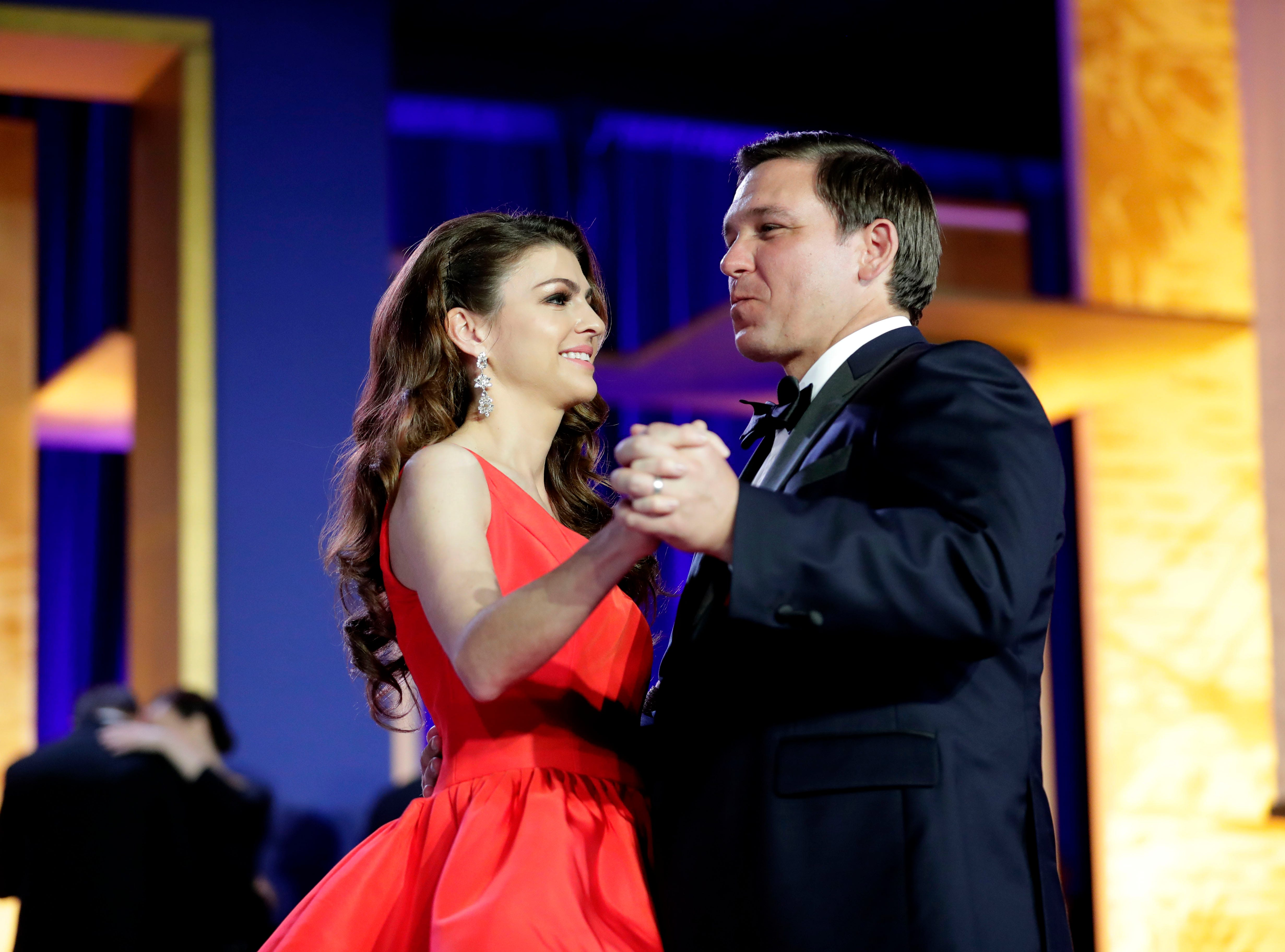 Hundreds of guests from all over Florida attend Florida's 46th Governor's Inaugural Ball at the Tucker Civic Center, Tuesday, Jan. 8, 2019. First lady Casey DeSantis and her husband, Gov. Ron DeSantis gracefully dance on center stage.