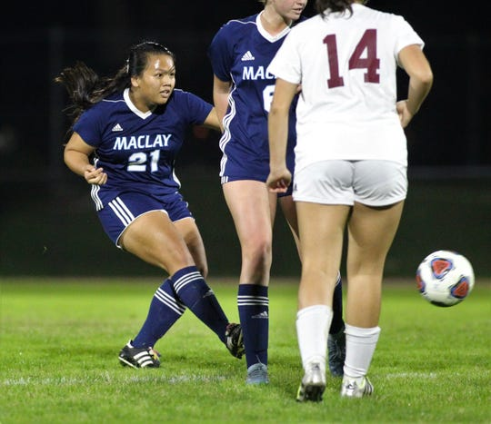 Maclay's Tayley Cotton strikes a shot as the Marauders won 3-0 at home against Florida High on Jan. 8, 2019. Cotton headed home her team's third goal off a corner kick.