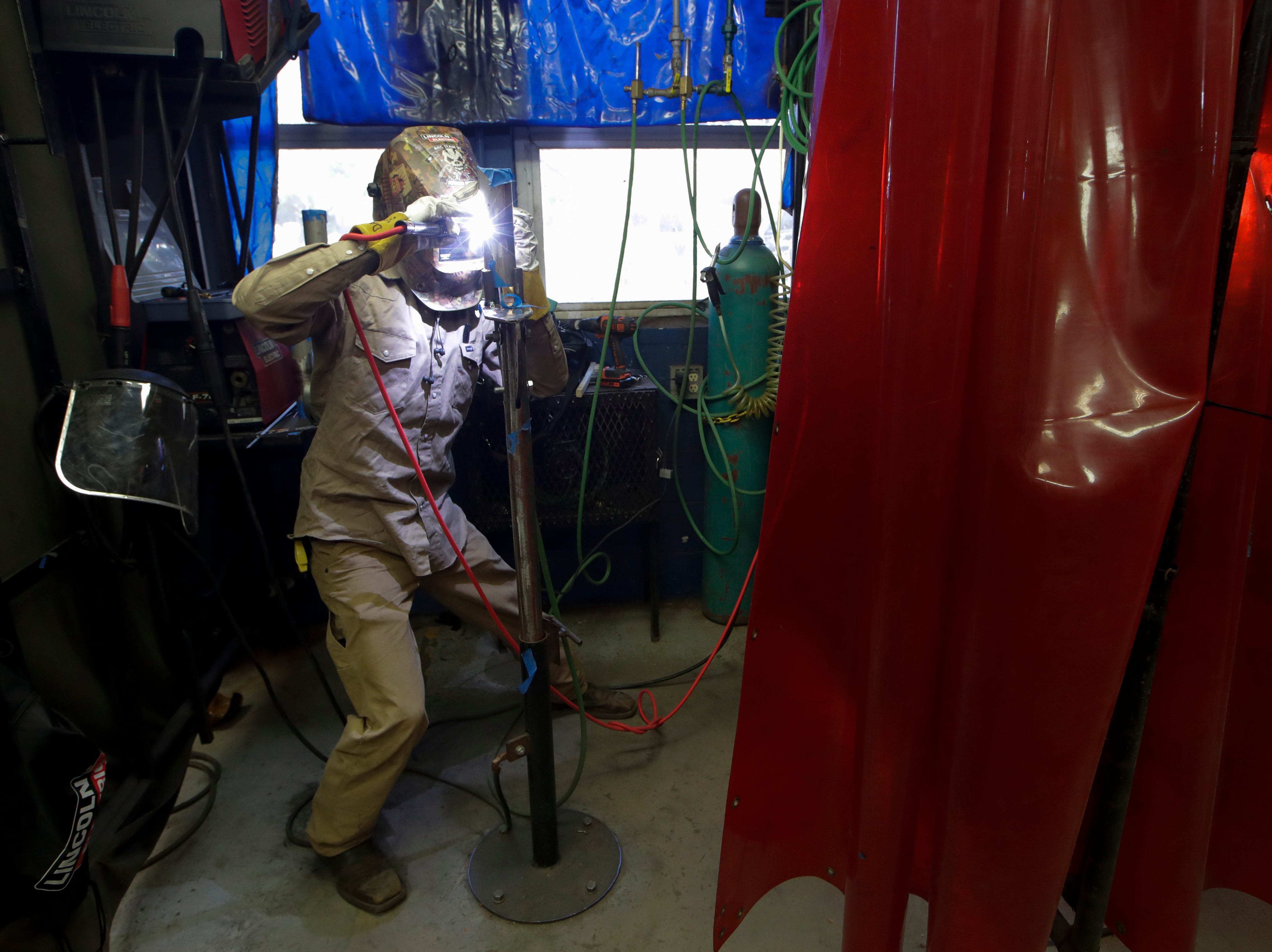 Advanced welding student Hunter Bulls welds Wednesday, Jan. 9, 2019 at Lively Technical Center which has been approved by the Leon County School Board to change it's name to Lively Technical College.