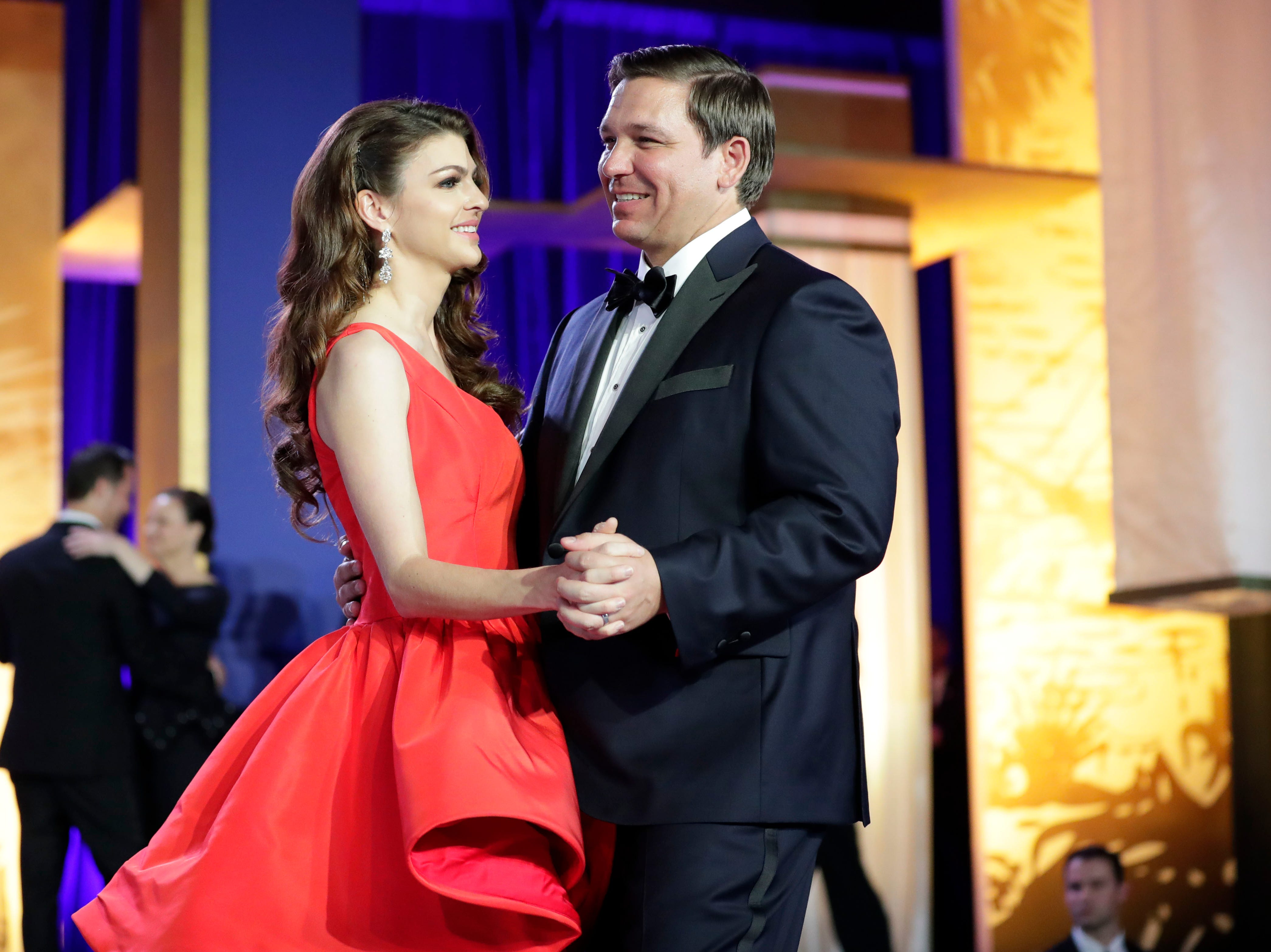 Hundreds of guests from all over Florida attend Florida's 46th Governor's Inaugural Ball at the Tucker Civic Center, Tuesday, Jan. 8, 2019. Gov. Ron DeSantis cheerfully dances with his wife, first lady Casey DeSantis.