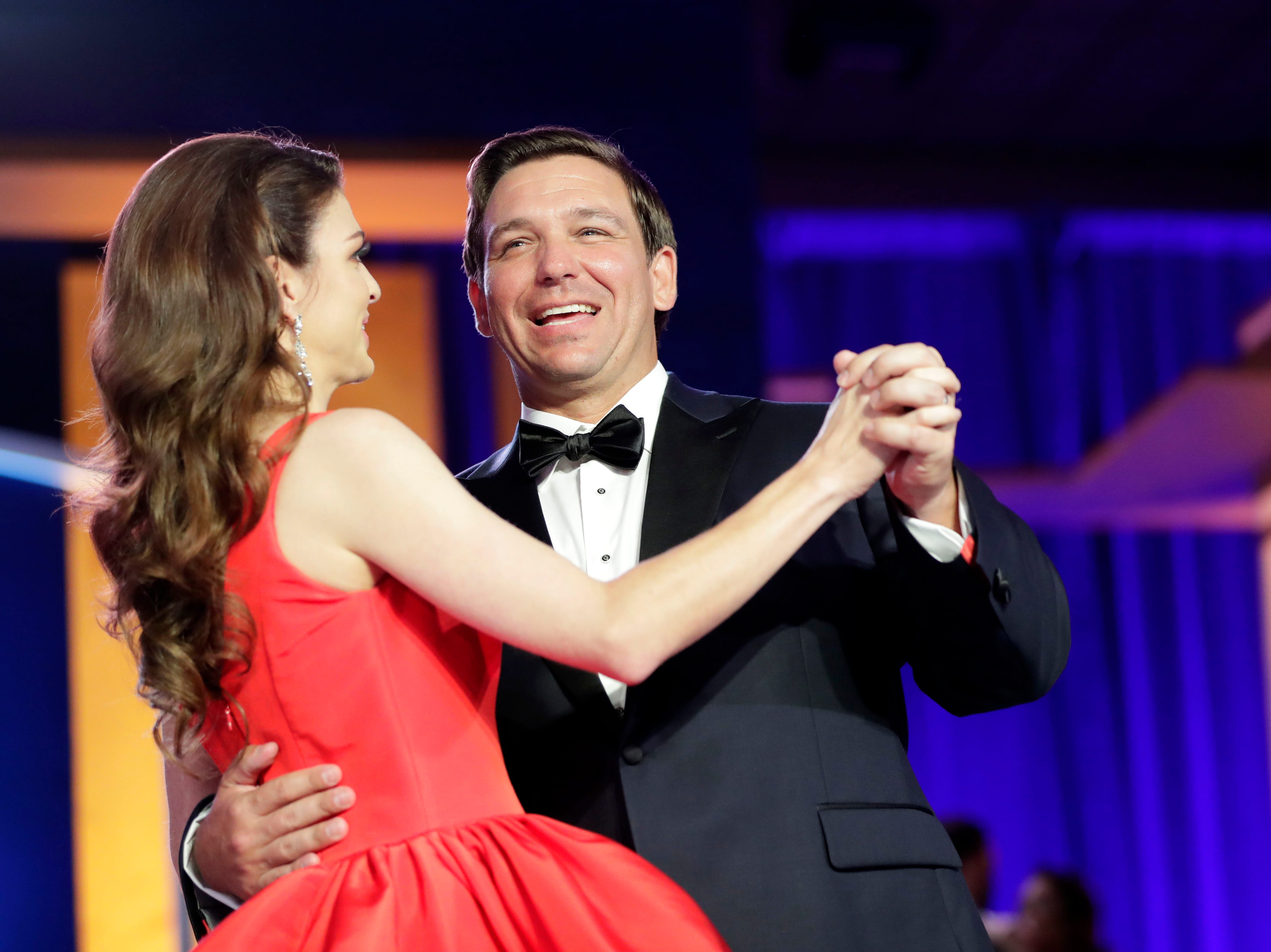 Hundreds of guests from all over Florida attend Florida's 46th Governor's Inaugural Ball at the Tucker Civic Center, Tuesday, Jan. 8, 2019. Gov. Ron DeSantis cheerfully dances with his wife first lady Casey DeSantis.