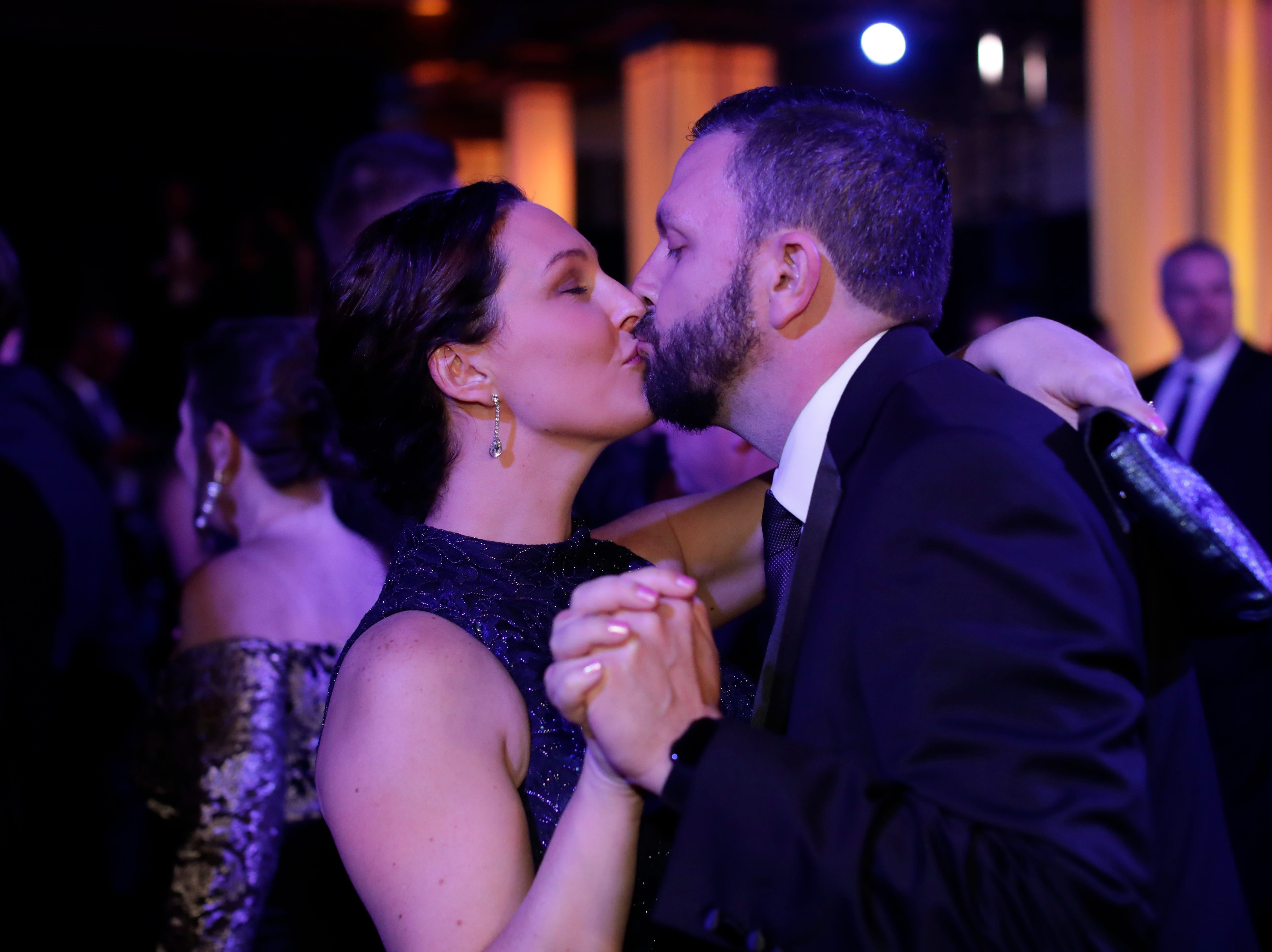 Hundreds of guests from all over Florida attend Florida's 46th Governor's Inaugural Ball at the Tucker Civic Center, Tuesday, Jan. 8, 2019.  Guests kiss as they dance the night away while live music is performed.