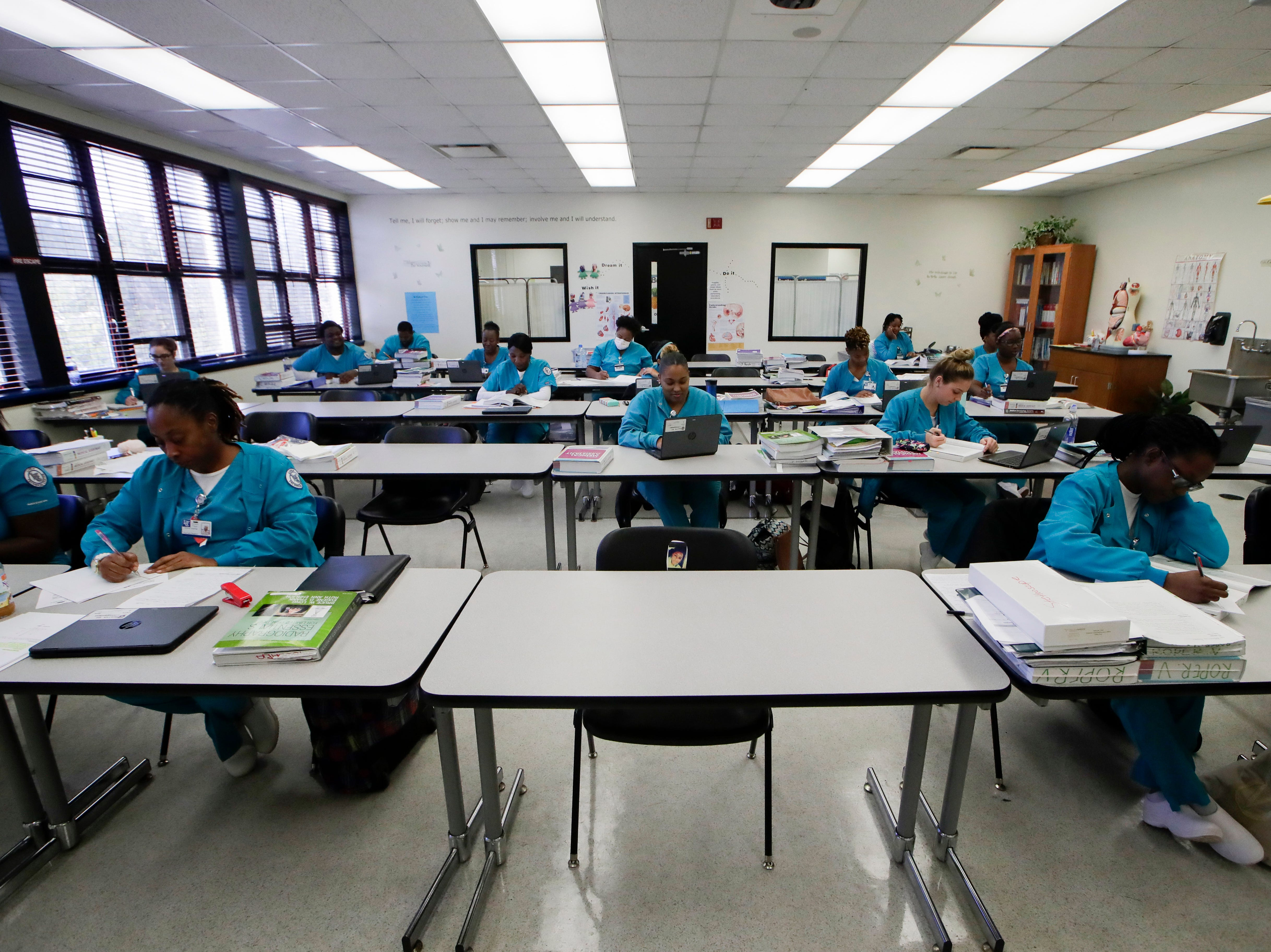Medical assistant program students work in their classroom Wednesday, Jan. 9, 2019 at Lively Technical Center which has been approved by the Leon County School Board to change it's name to Lively Technical College.