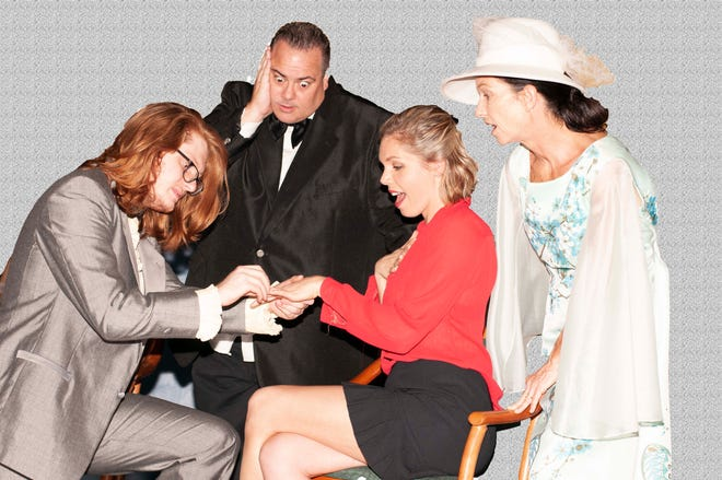 """Giovanni Morgan, left, Keith Russo, Brandi Rivera and Corinna Germinario star in The Barn Theatre's production of """"Plaza Suite."""""""