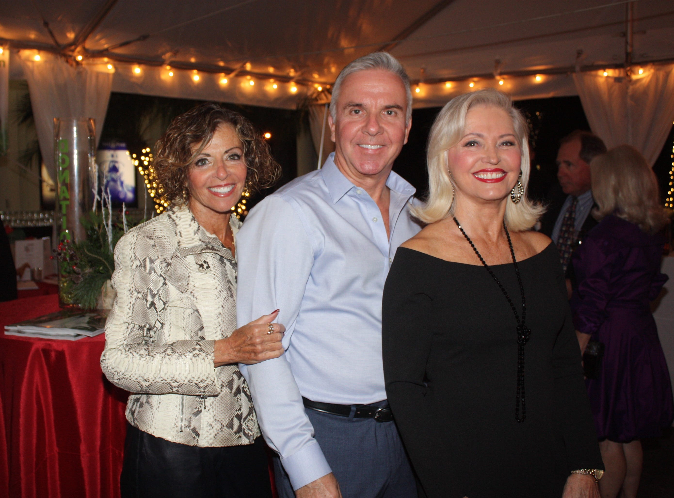 Lana Arnold, left, David Alan and Linda Stein at the Provident Jewelry party for the Equine Rescue and Adoption Foundation.
