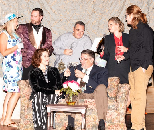 "Dana Anderwald, left, Joey Pierson, Kelly Wright, Keith Russo, Keith Berfield, Brandi Rivera and Giovanni Morgan star in The Barn Theatre's production of ""Plaza Suite."""