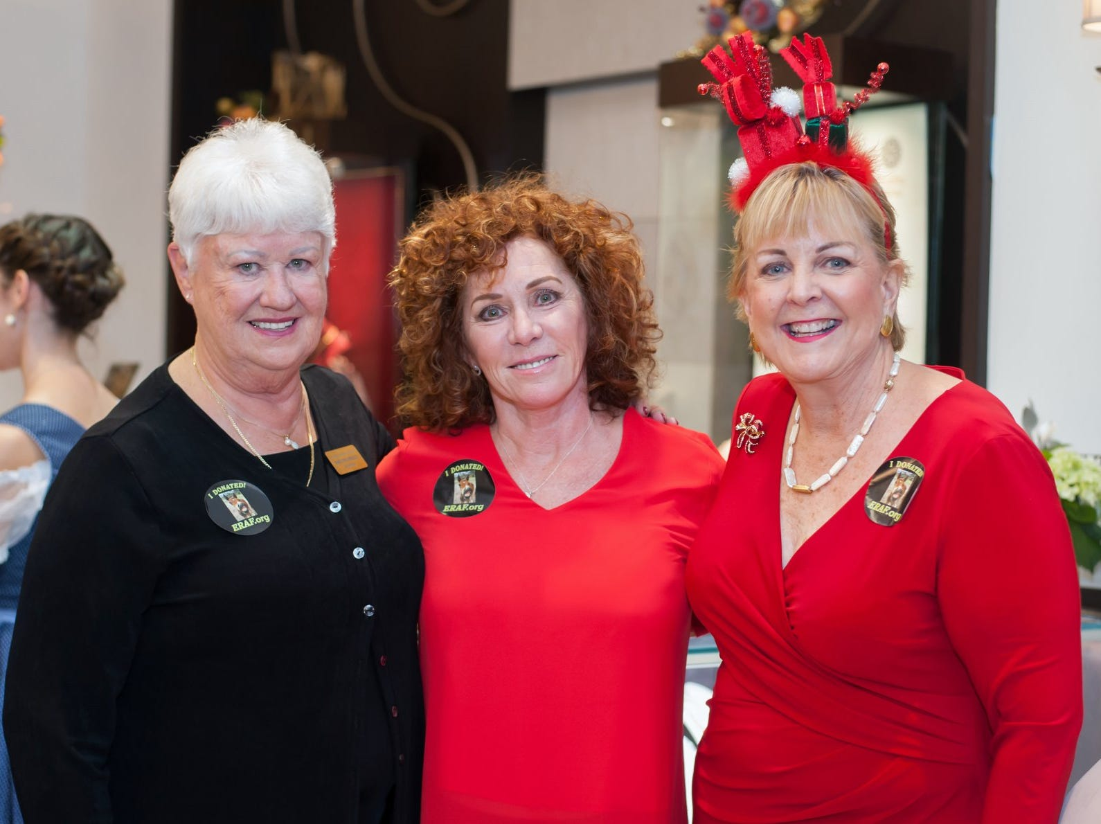 Marilynn Vannucci, left, Denise LeClair-Robins and Beverly Bevis Jones at the Provident Jewelry party for the Equine Rescue and Adoption Foundation.
