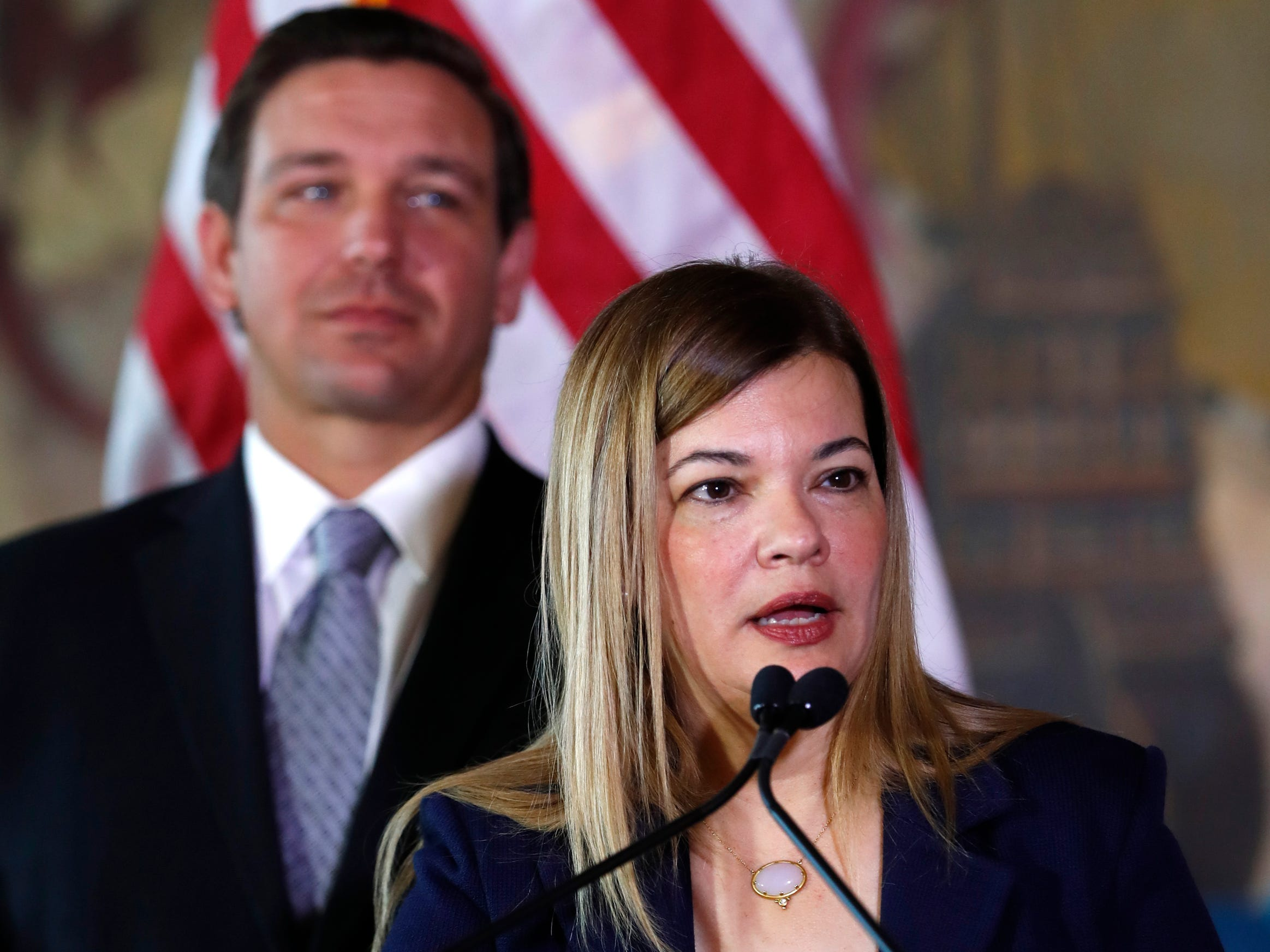Barbara Lagoa, Gov. Ron DeSantis' pick for the Florida Supreme Court, gestures as she speaks after being introduced on Wednesday, Jan. 9, 2019, in Miami.