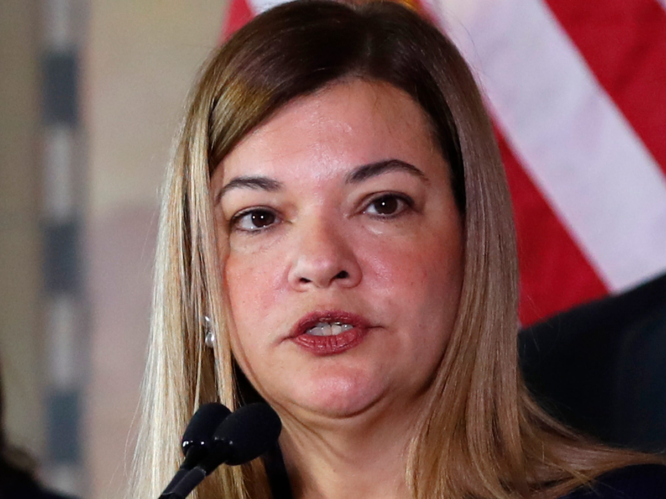Barbara Lagoa, Governor Ron DeSantis' pick for the Florida Supreme Court, speaks after being introduced, Wednesday, Jan. 9, 2019, in Miami.