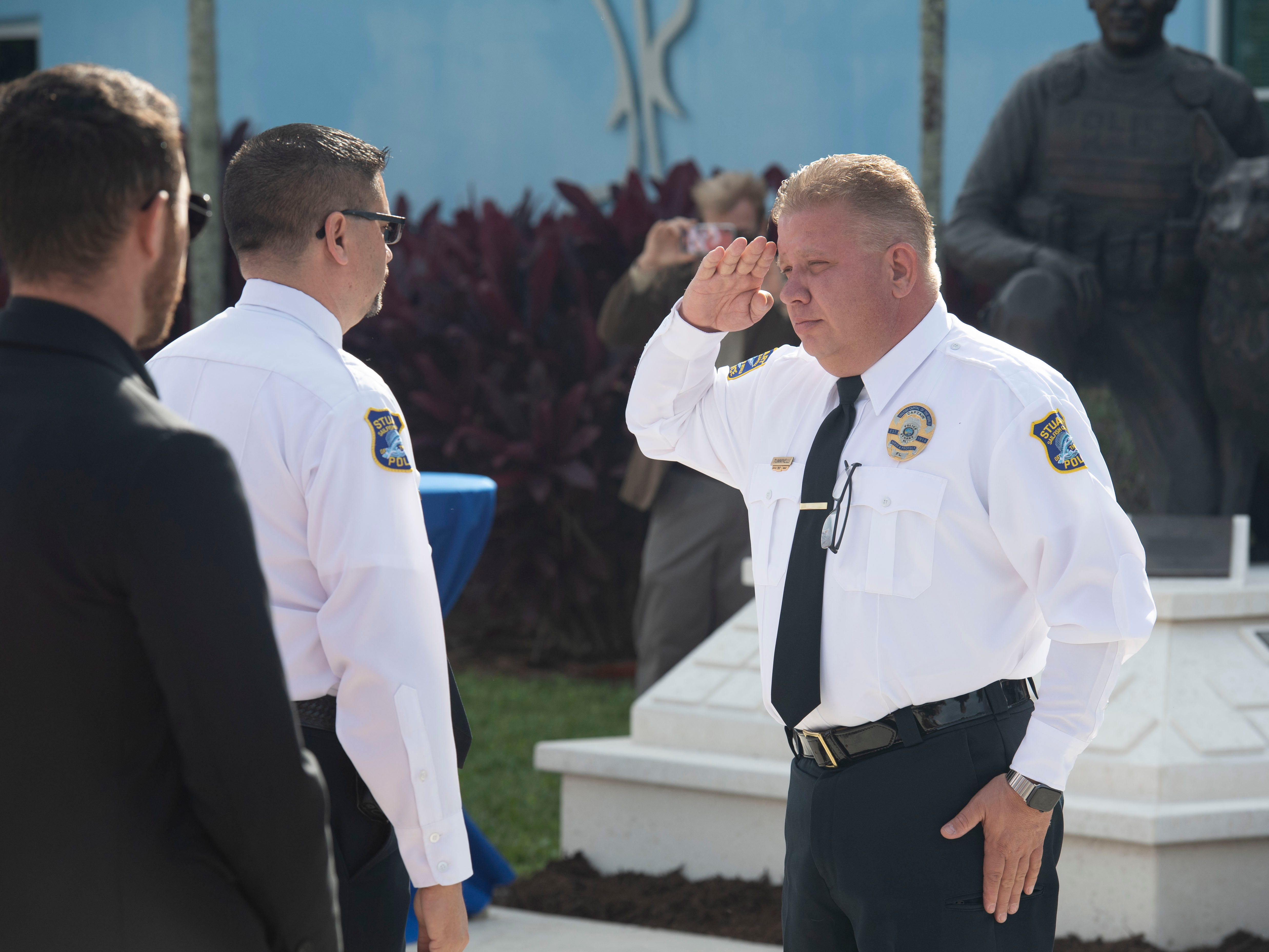 """New Stuart Police Chief Joseph Tumminelli was sworn in as chief Wednesday, Jan. 9, 2019, at the Stuart Police Department. Former chief David Dyess, now Stuart's city manager, appointed Tumminelli, who has been with the department since 1997, to chief in December. """"To the community, I will provide the best customer service to people in need,"""" Tumminelli said during his address to the crowd that featured his friends and family, the Stuart City Commission, other area police chiefs and local dignitaries."""