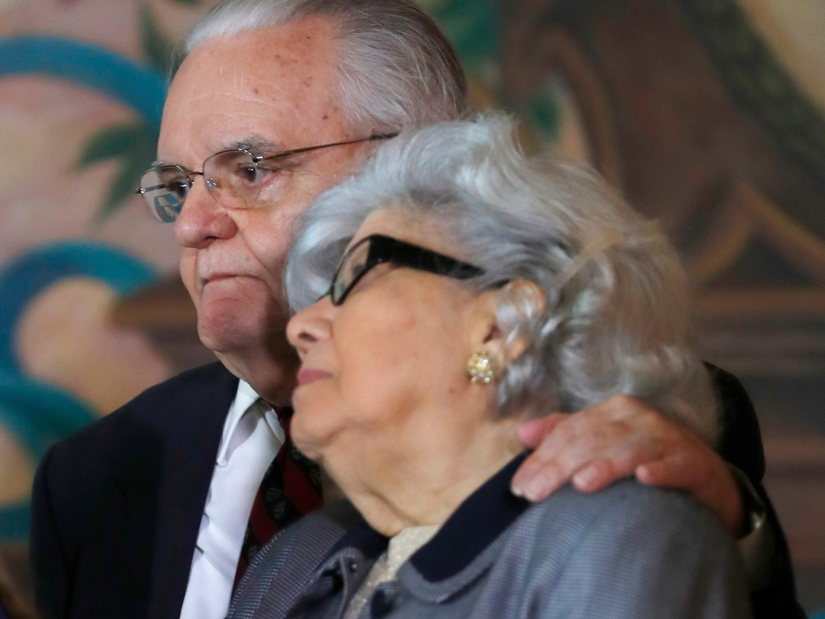 Antonio and Araceli Lagoa, the parents of Barbara Lagoa, Governor Ron DeSantis' pick for the Florida Supreme Court, look on as she speaks after being introduced, Wednesday, Jan. 9, 2019, in Miami. Lagoa, a daughter of Cuban exiles raised in Hialeah, has been a judge on the 3rd District Court of Appeal in Miami for the past 12 years.