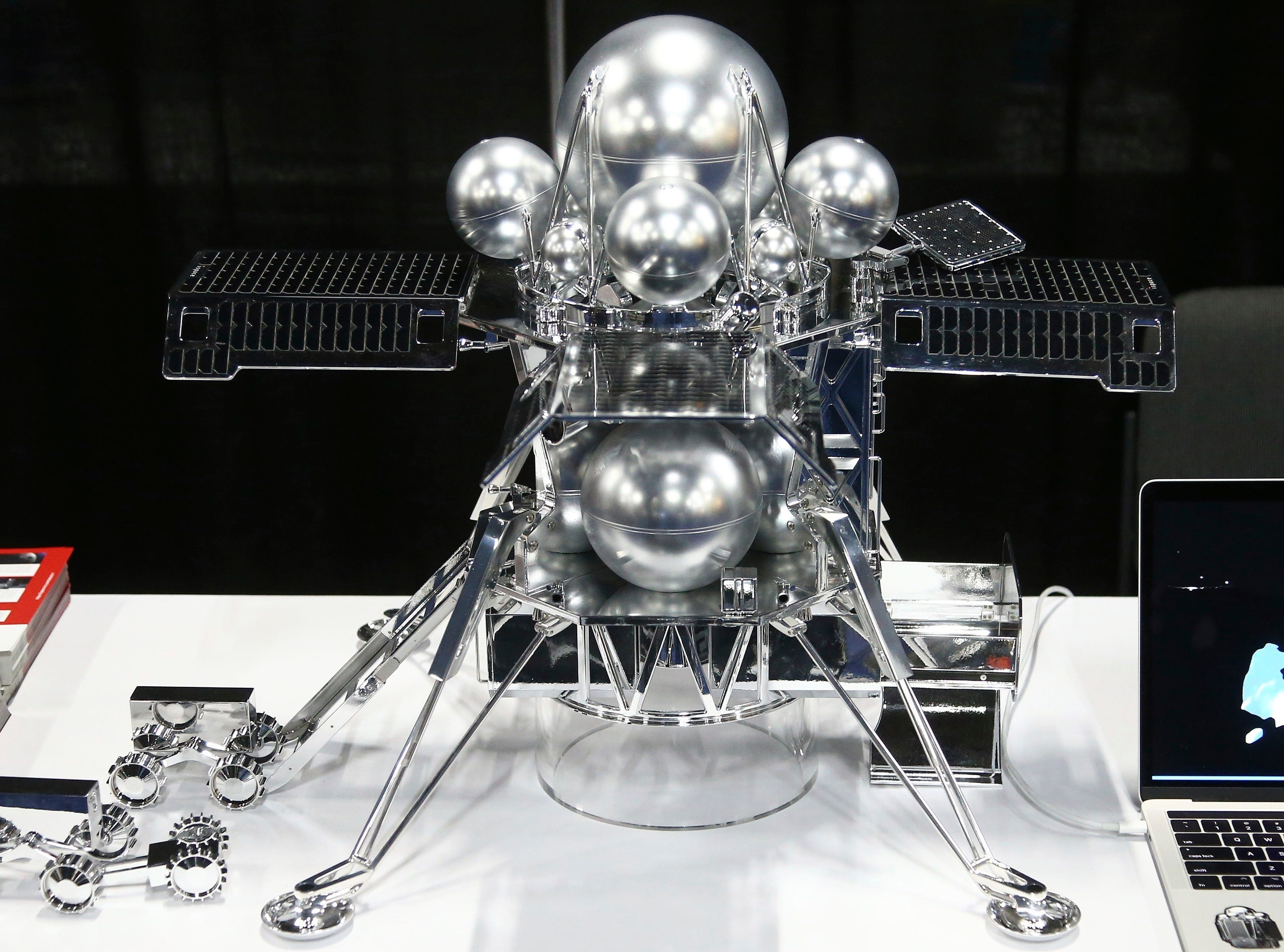 Hakuto-R shows off its lunar lander, which is scheduled to be part of the SpaceX Falcon 9 rocket for a 2020 and 2021 missions, shown here at the CES Unveiled at CES International on Sunday, Jan. 6, 2019, in Las Vegas.