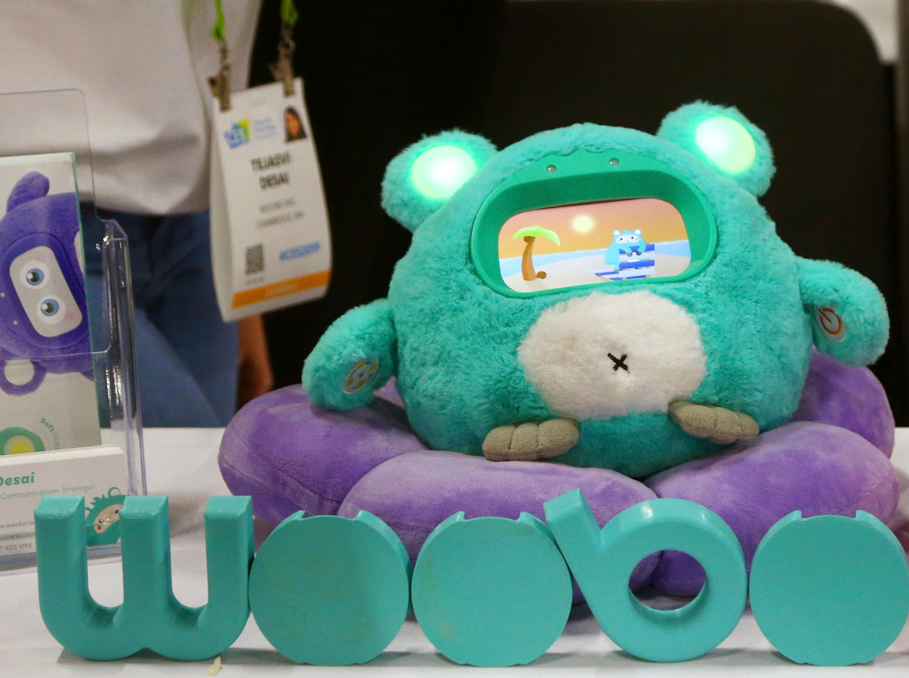 Woobo Inc. displays their stuffed animal interactive companion robots for kids that can answer questions and has other educational content, shown here at the CES Unveiled at CES International on Sunday, Jan. 6, 2019, in Las Vegas.