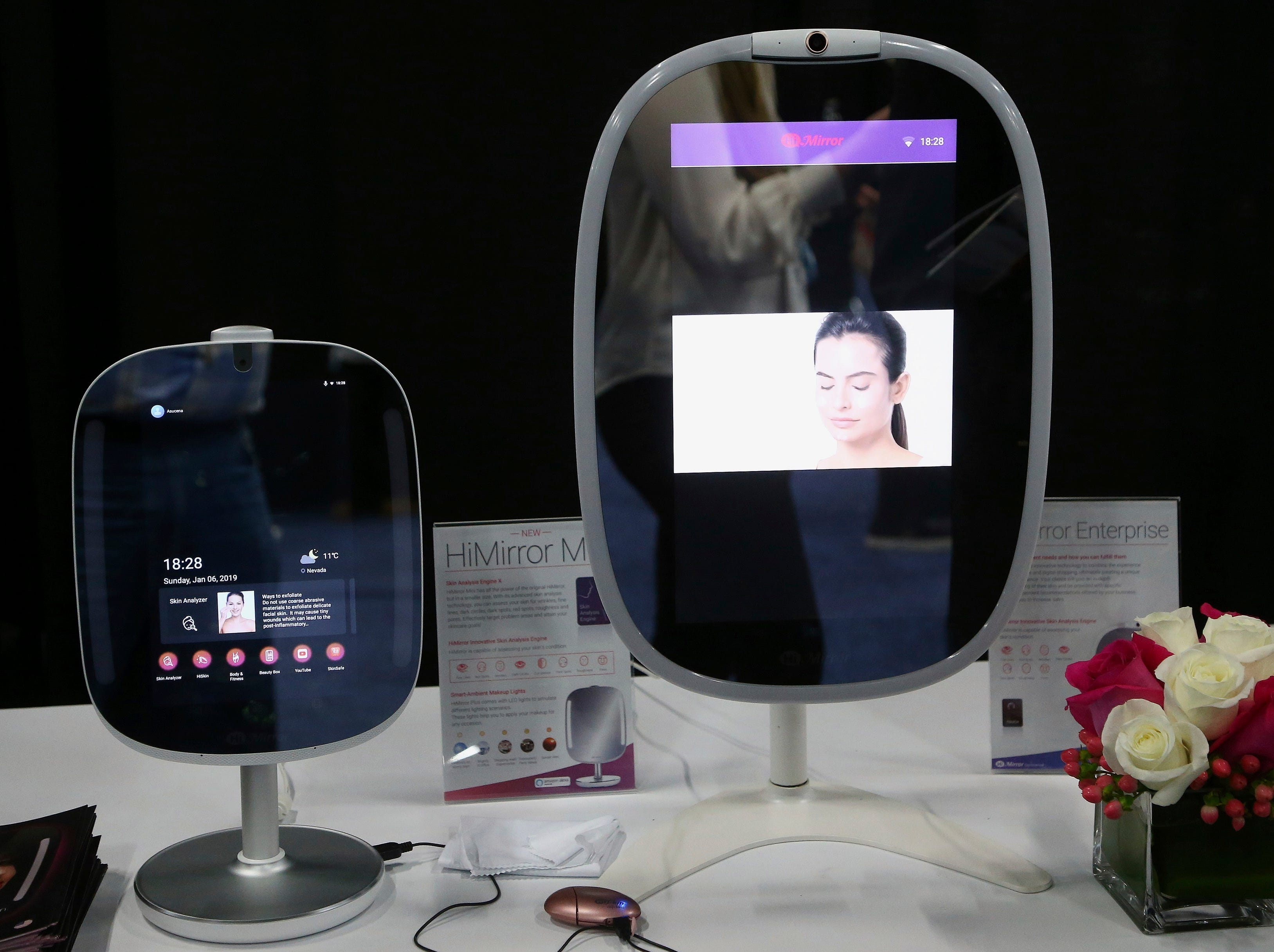 Two different sizes of the HiMirror uses its skin analysis technology, to assess your skin for wrinkles, fine lines, dark circles, dark spots, red spots, roughness, and pores, shown here at the CES Unveiled at CES International on Sunday, Jan. 6, 2019, in Las Vegas.