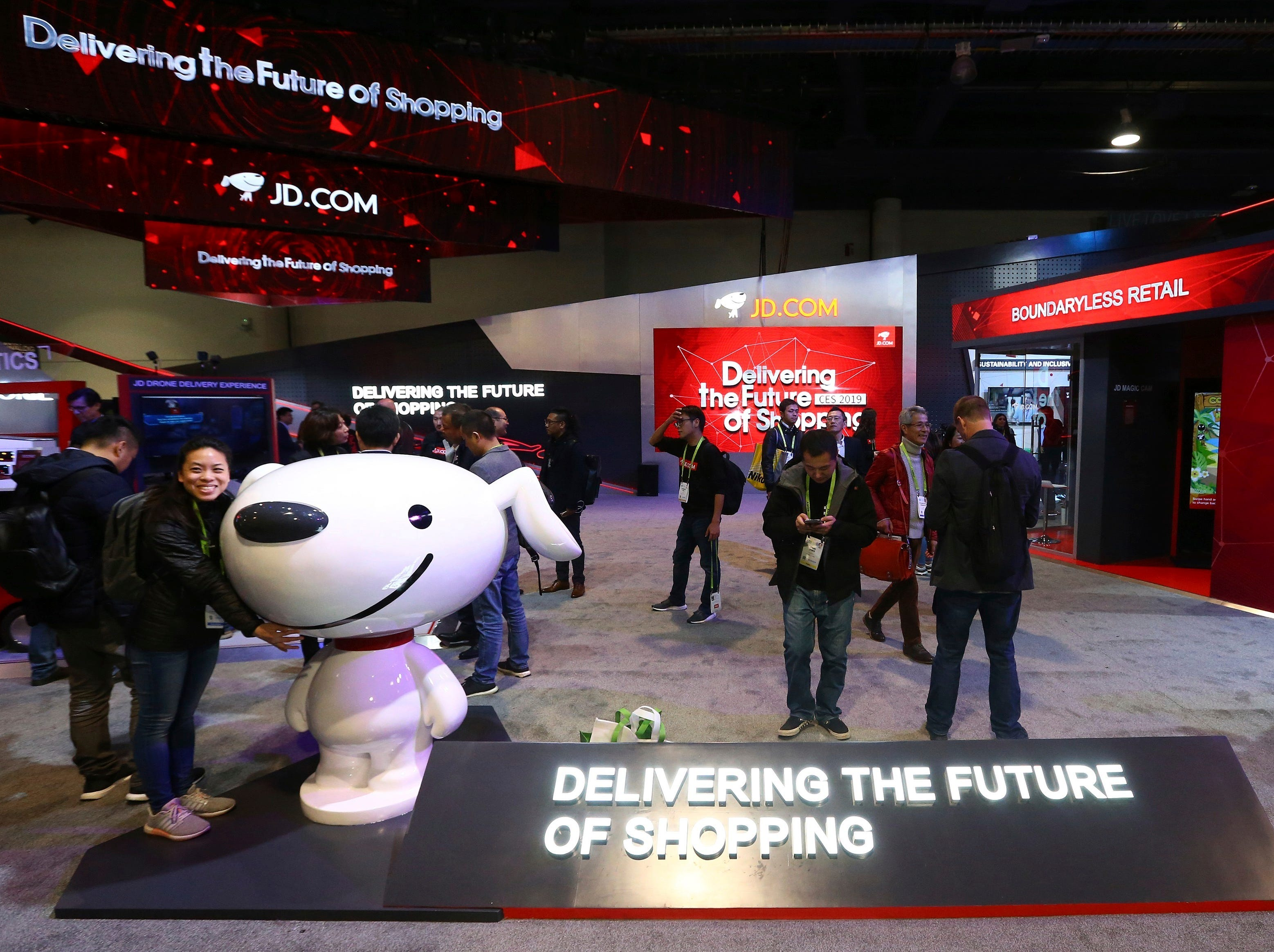 The JD.com area is shown at CES International on Tuesday, Jan. 8, 2019, in Las Vegas.
