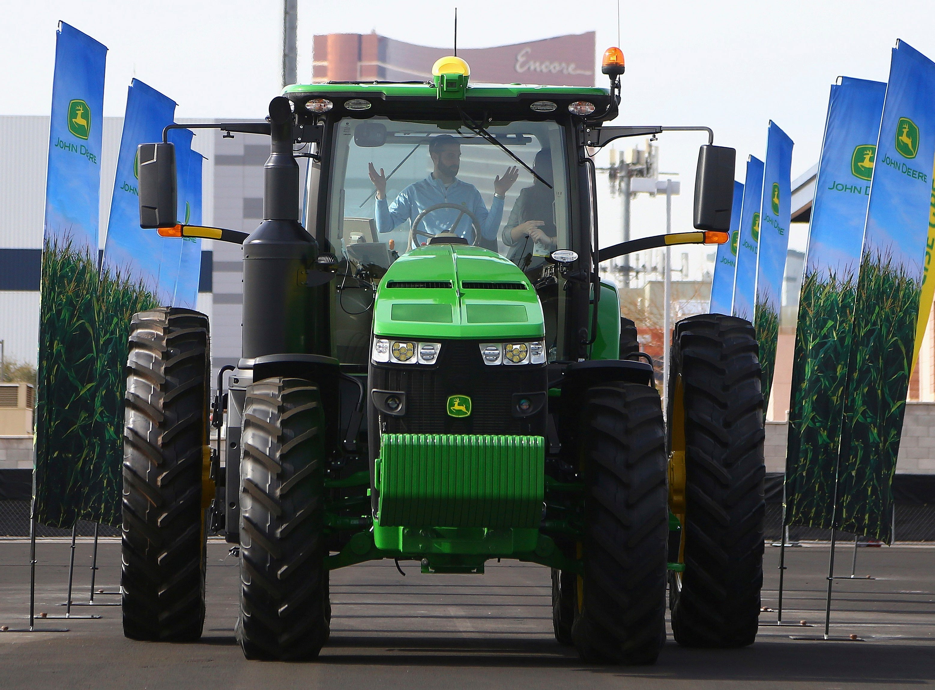 John Deere has hauled in a self-driving tractor aided by cameras with computer-vision technology to track the self-driving precision and program the route to be driven, shown at CES International on Tuesday, Jan. 8, 2019, in Las Vegas.