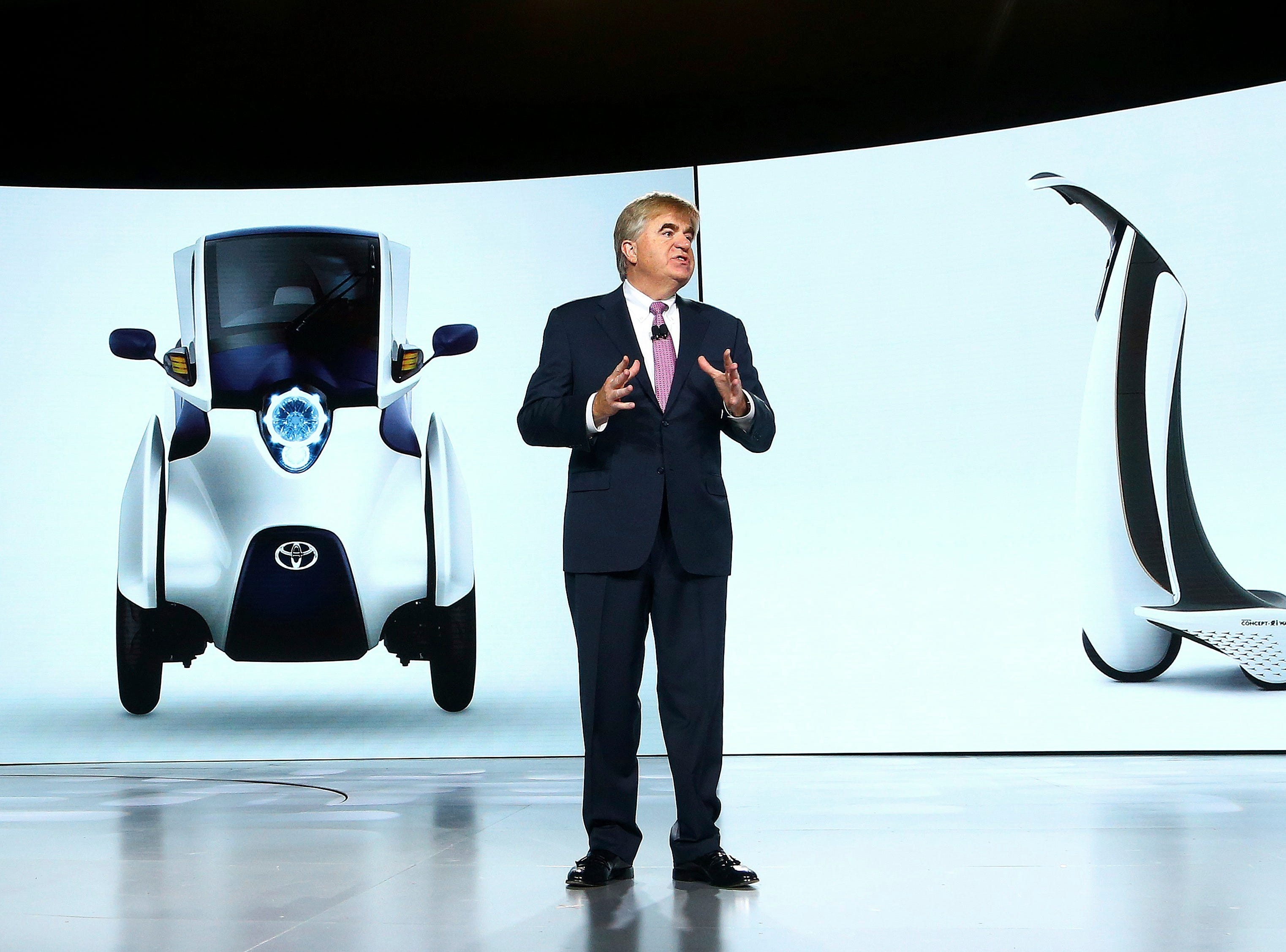 Bob Carter, executive vice president of Toyota, talks about future products at the Toyota news conference at CES International on Monday, Jan. 7, 2019, in Las Vegas.