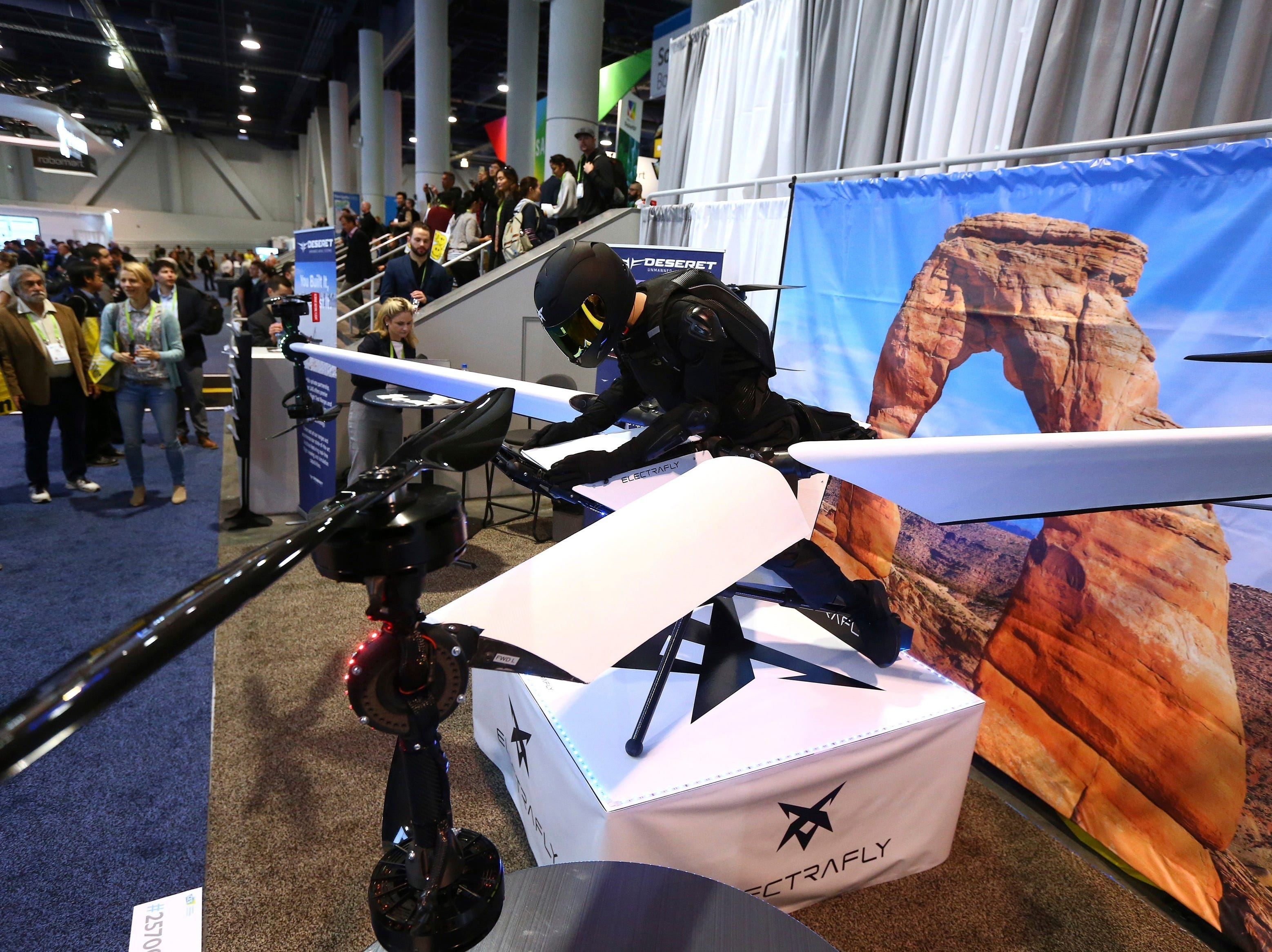 ElectraFly's ElectraFlyer is a single person hybrid electric Vertical Take-Off and Landing multicopter that will be used as a hover or personal flying device. The prototype is shown at CES International on Tuesday, Jan. 8, 2019, in Las Vegas. The prototype will be tested at the Deseret facility in Utah in the coming weeks.
