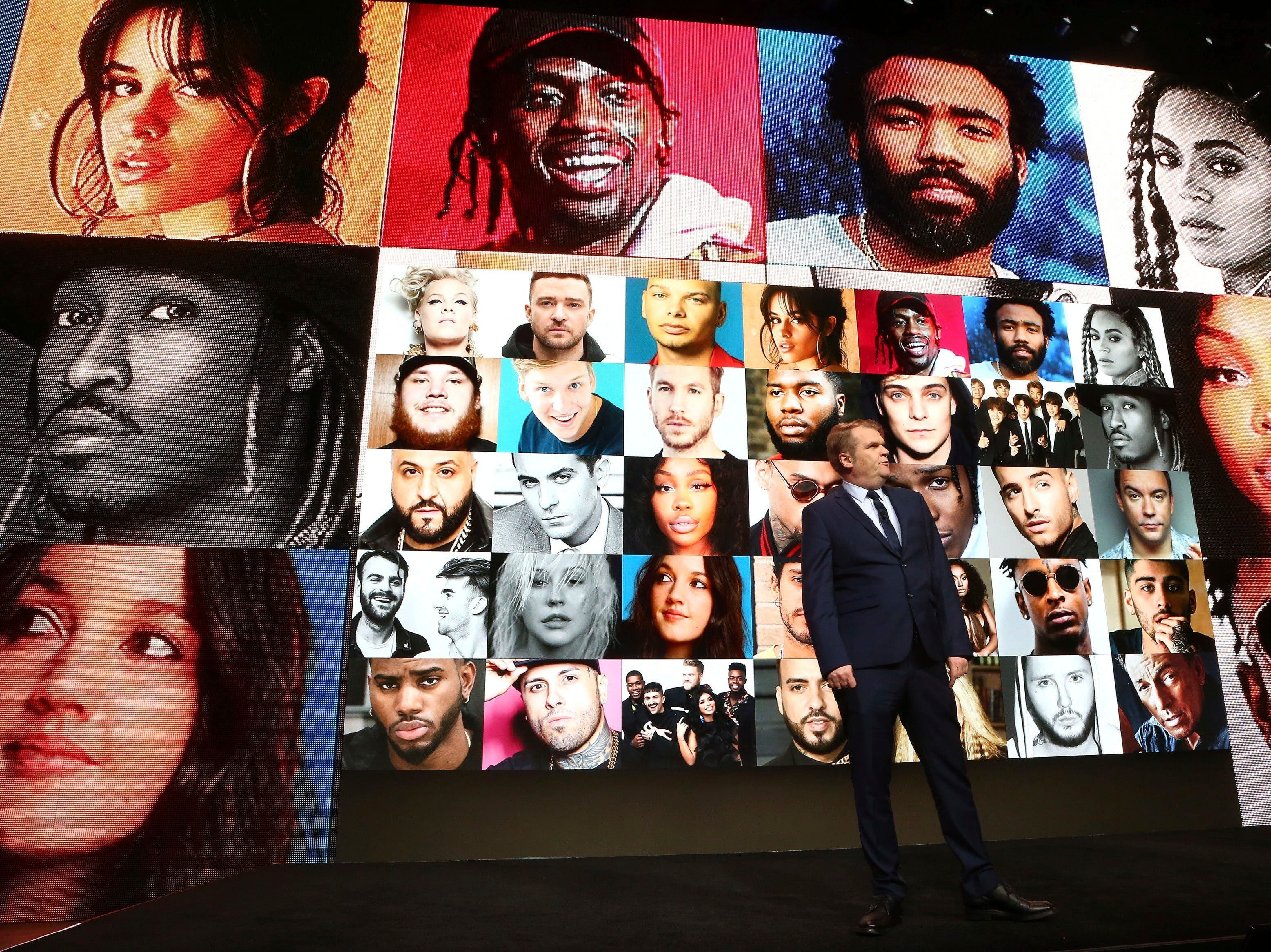 Rob Stringer, CEO of Sony Music Entertainment, speaks at the Sony news conference at CES International on Monday, Jan. 7, 2019, in Las Vegas.