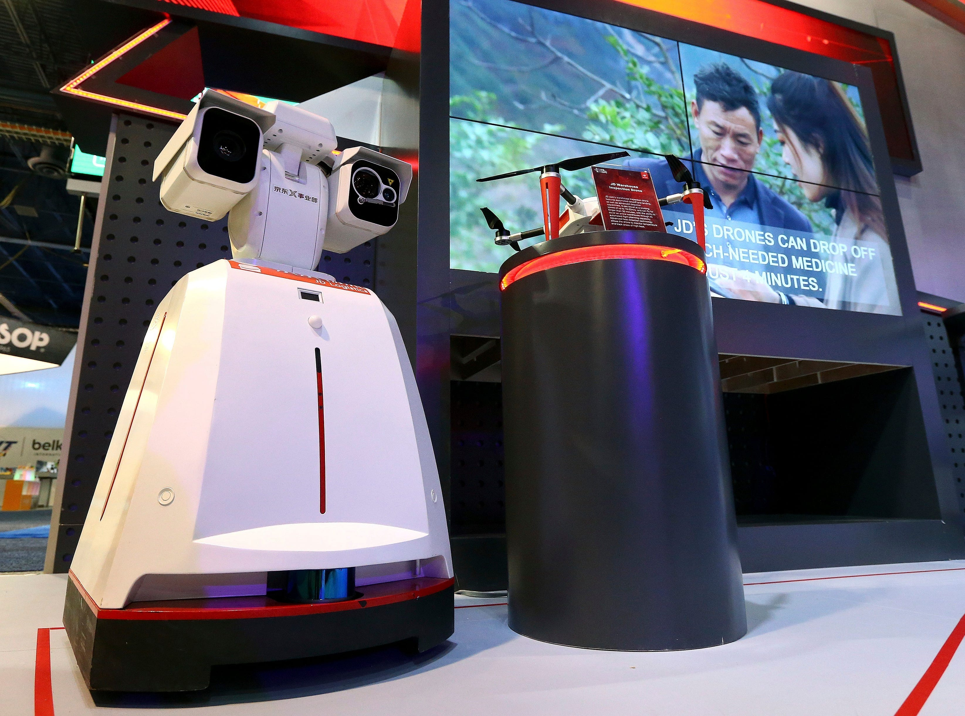 JD.com makes two different automated warehouse inspection drones, shown here at CES International on Tuesday, Jan. 8, 2019, in Las Vegas.