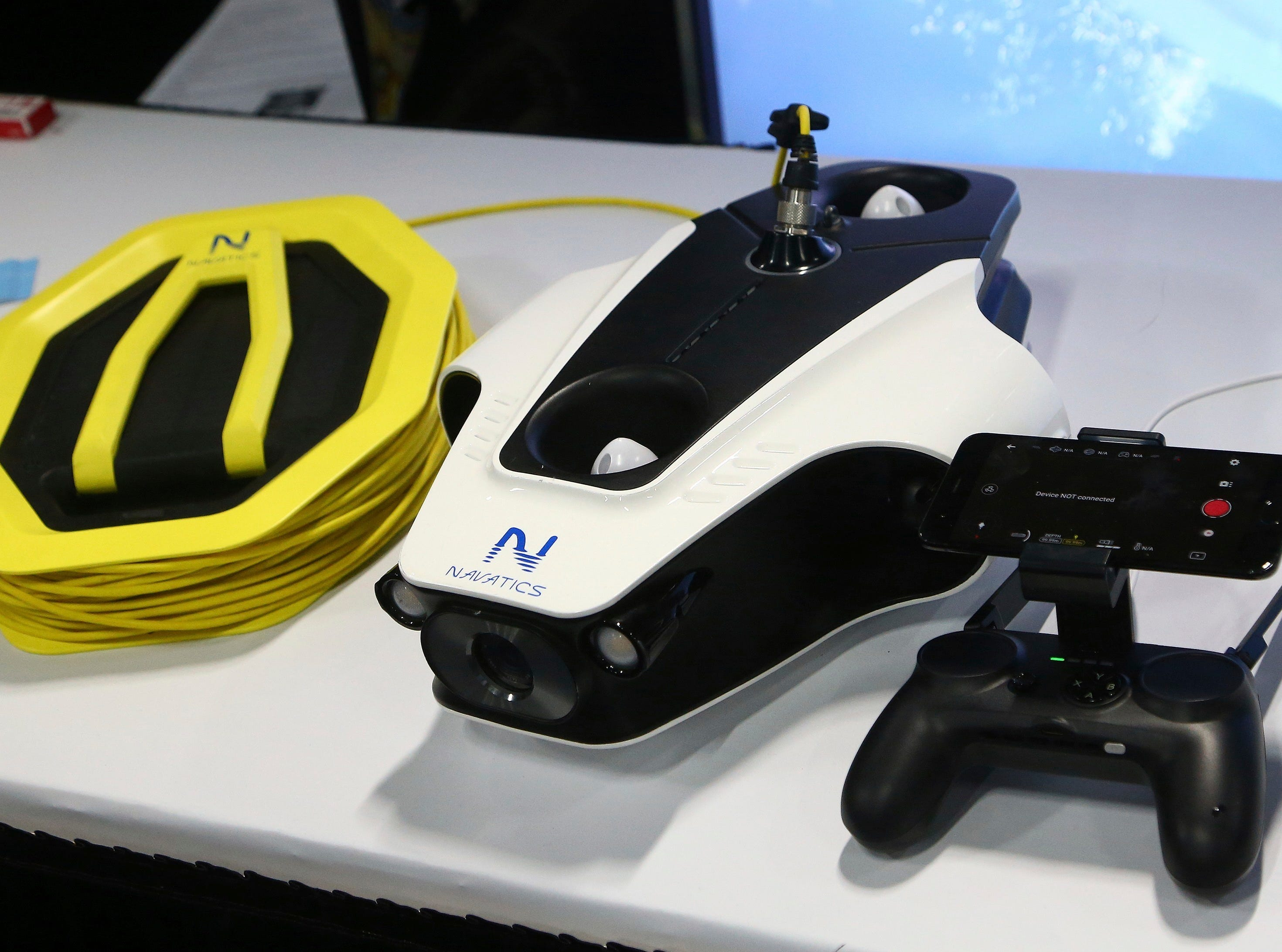 Navatics MITO displays its underwater drone with 4K camera at the CES Unveiled at CES International on Sunday, Jan. 6, 2019, in Las Vegas.