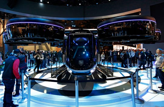 The Bell Nexus hybrid electric air taxi concept is on display at the Bell booth at CES International on Tuesday, Jan. 8, 2019, in Las Vegas.