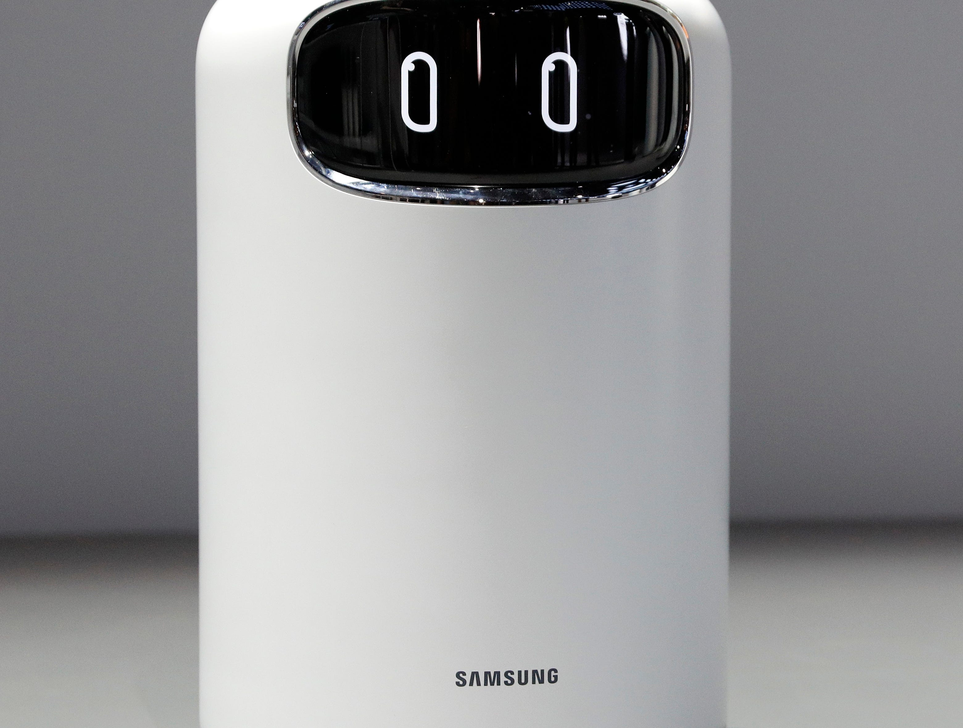 The Bot Air air filtering robot is displayed in the Samsung booth at CES International on Tuesday, Jan. 8, 2019, in Las Vegas.