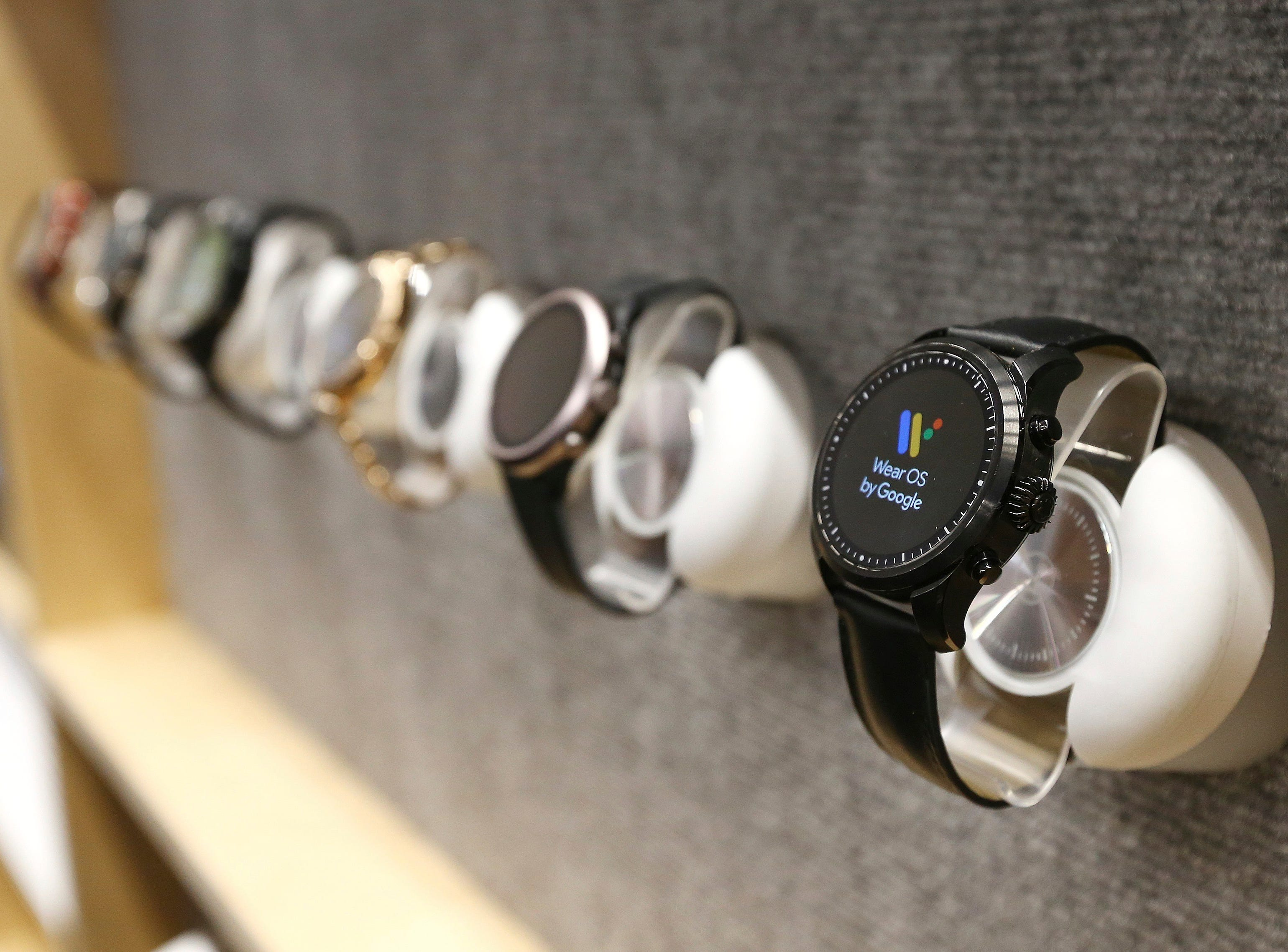 The Google Wear OS watches are on display at CES International on Tuesday, Jan. 8, 2019, in Las Vegas.