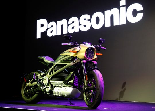 A Harley-Davidson Motorcycles LiveWire electric motorcycle is on display during a Panasonic news conference at CES International on Monday, Jan. 7, 2019, in Las Vegas.