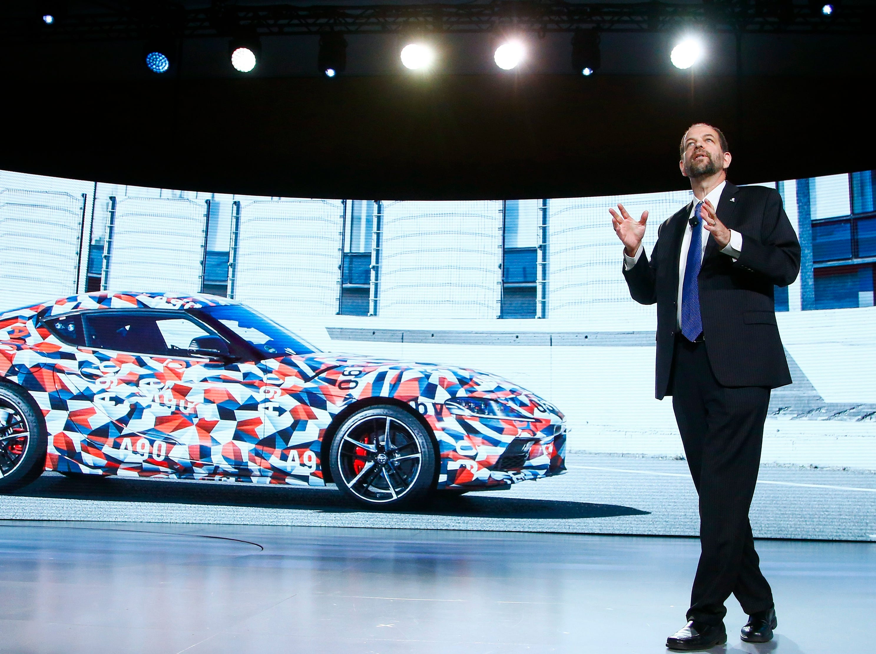 Gill Pratt, CEO of the Toyota Research Institute, talks about the new Toyota Supra at the Toyota news conference at CES International on Monday, Jan. 7, 2019, in Las Vegas.