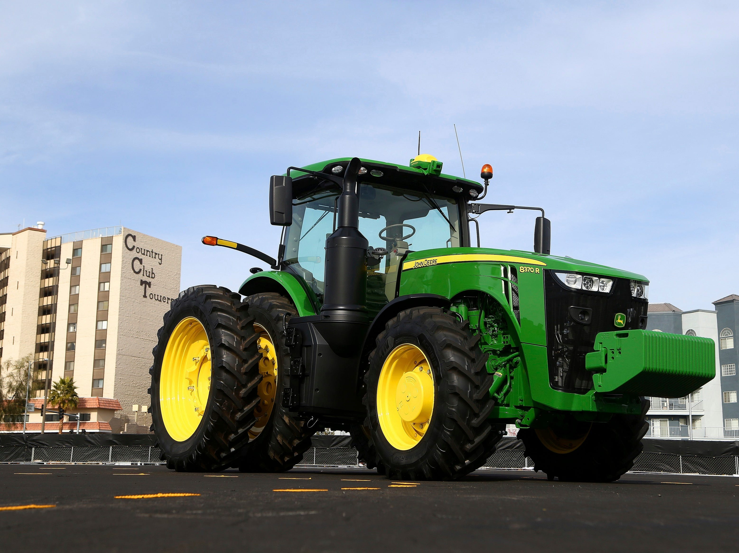 John Deere has hauled in a self-driving tractor aided by cameras with computer-vision technology to track the self-driving precision and program the route to be driven, as shown at CES International on Tuesday, Jan. 8, 2019, in Las Vegas.