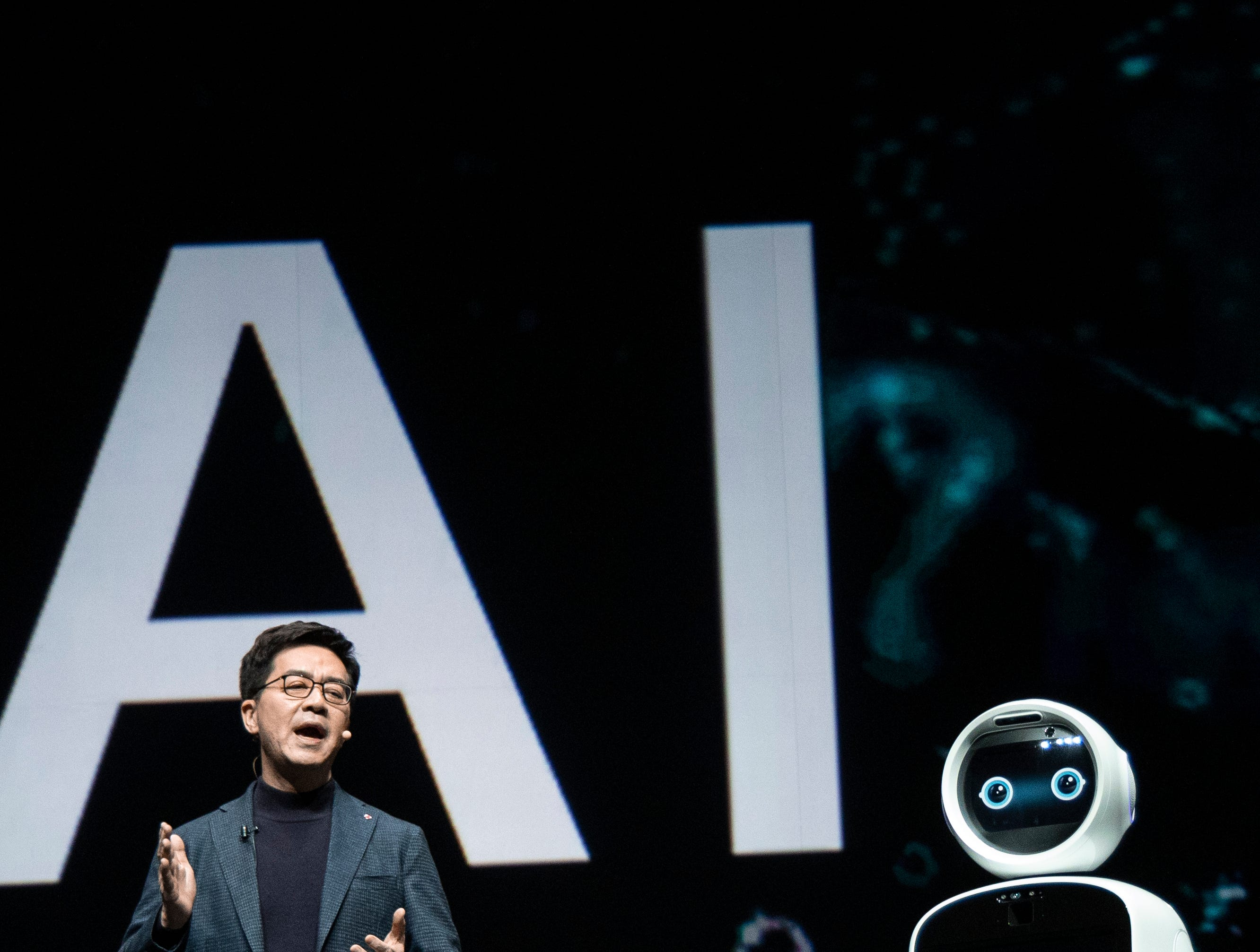 Dr. I.P. Park, LG Electronics president and CTO, ushers in the future of artificial intelligence while delivering the LG Pre CES keynote address during CES 2019 on Monday, Jan. 7, 2019, in Las Vegas.