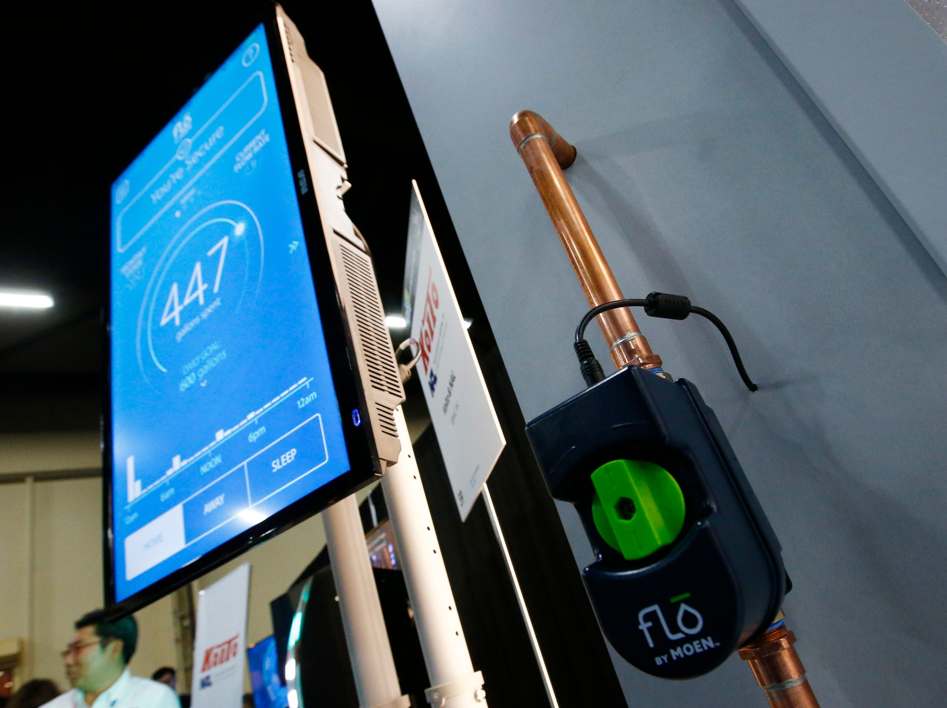 Flo, designed by Moen to detect water leaks and water usage on for an entire home and show all the information on an app, is displayed at the CES Unveiled at CES International on Sunday, Jan. 6, 2019, in Las Vegas.