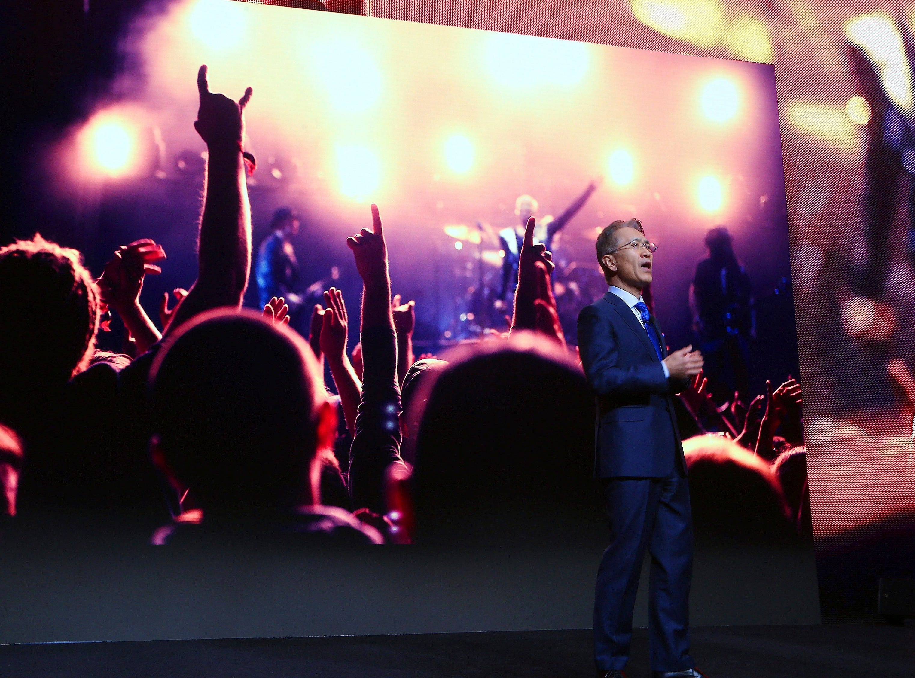 Kenichiro Yoshida, president and CEO of Sony, talks about a variety of Sony products at the Sony news conference at CES International on Monday, Jan. 7, 2019, in Las Vegas.