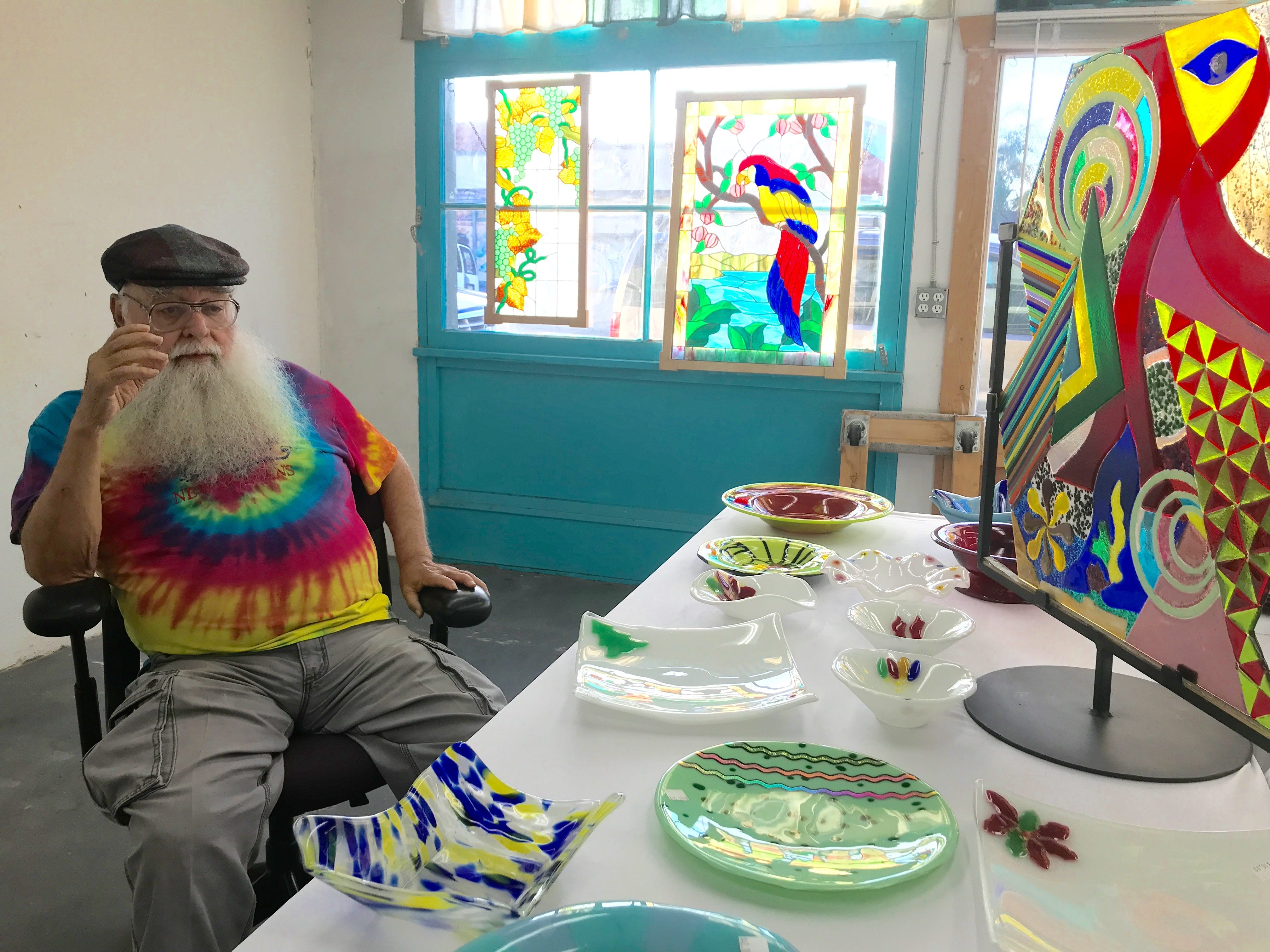 "Beglar Merlich, known to his friends as ""chief,"" talks about his second career as a glass artist. The 83-year-old is closing his studio at the Bell Arts Factory in Ventura this week after 15 years in business."
