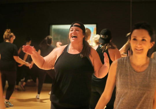 PlyoJam co-founder Stacey Beaman leads one of her classes at RockIt Dance Studio in Westlake Village. PlyoJam is a high-energy cardio fitness class that is blended with hip-hop dance moves and is designed for people of all fitness levels.