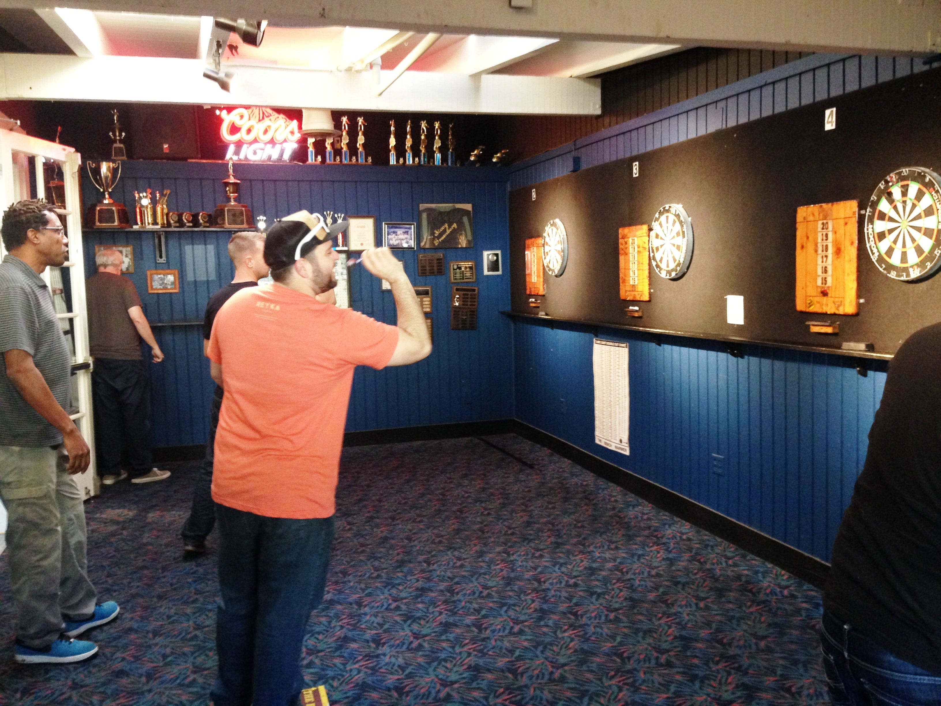 The dart room at The Benchwarmer tavern in Ventura is the regular meeting place of the Ventura County Dart Association.