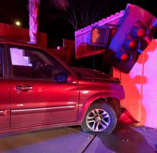 A Simi Valley man was arrested for an alleged DUI early Wednesday morning. Officers arrived to find the SUV had crashed into a traffic light and wall.