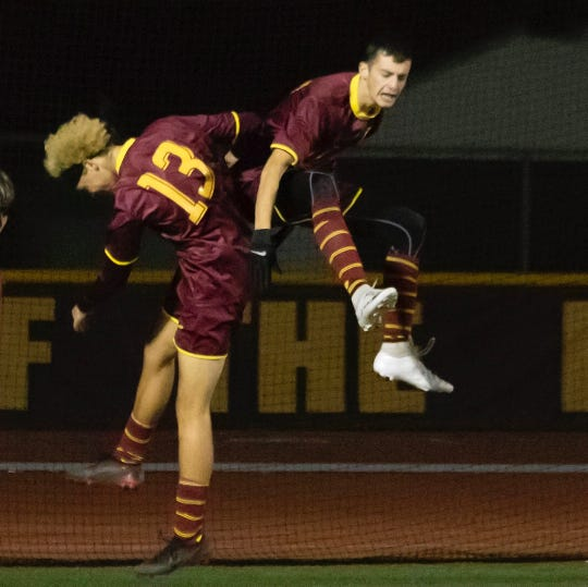 Alec Silva and Jared Fuller celebrate a goal for Simi Valley, which is off to a 13-1 start to the season.