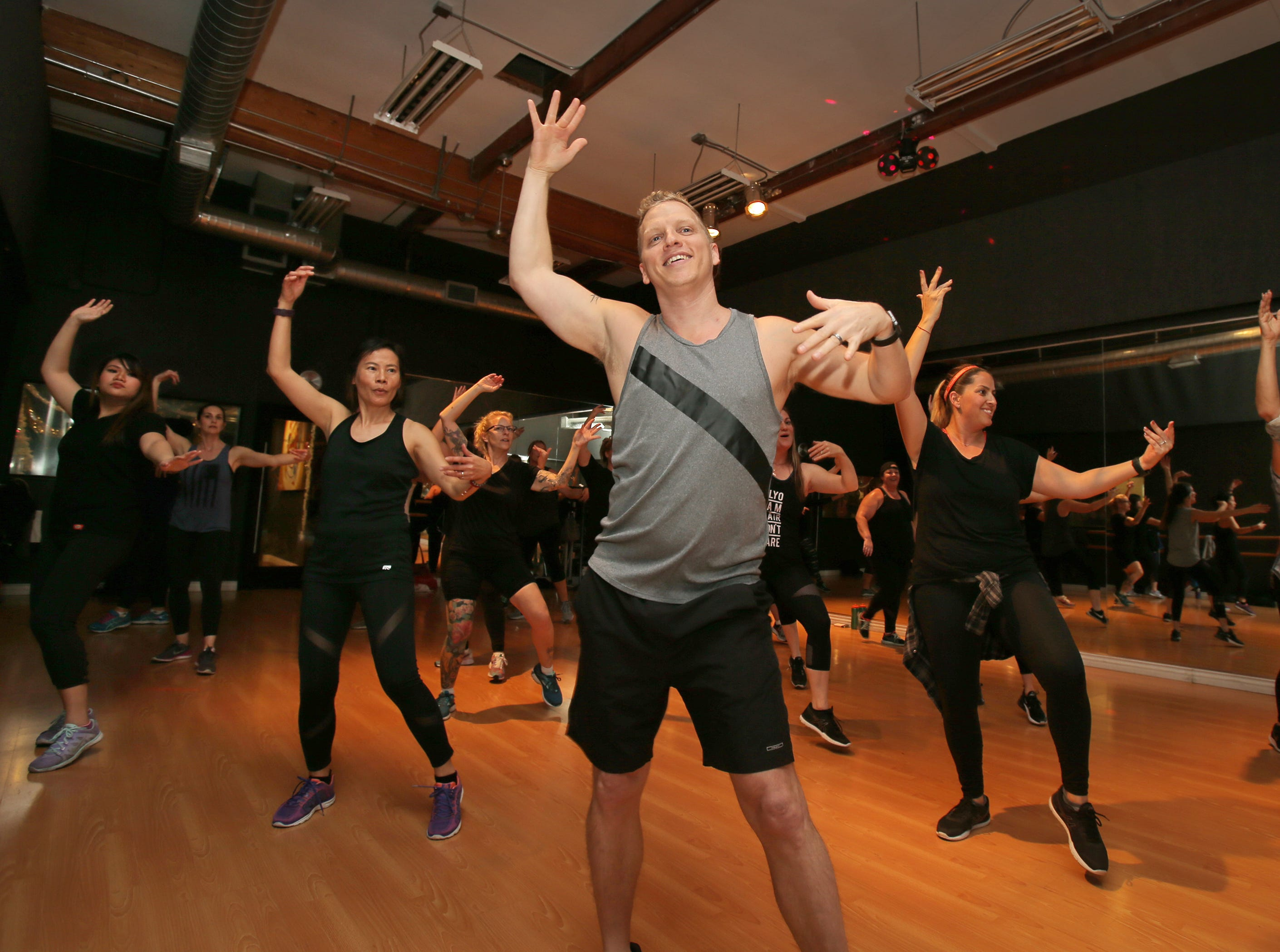 PlyoJam creater and co-founder Jason Layden works out with one of his classes at RockIt Dance Studio in Westlake Village. PlyoJam offers a high-energy cardio fitness class that is blended with hip-hop dance moves and has attracted followers that include actress Reese Witherspoon.