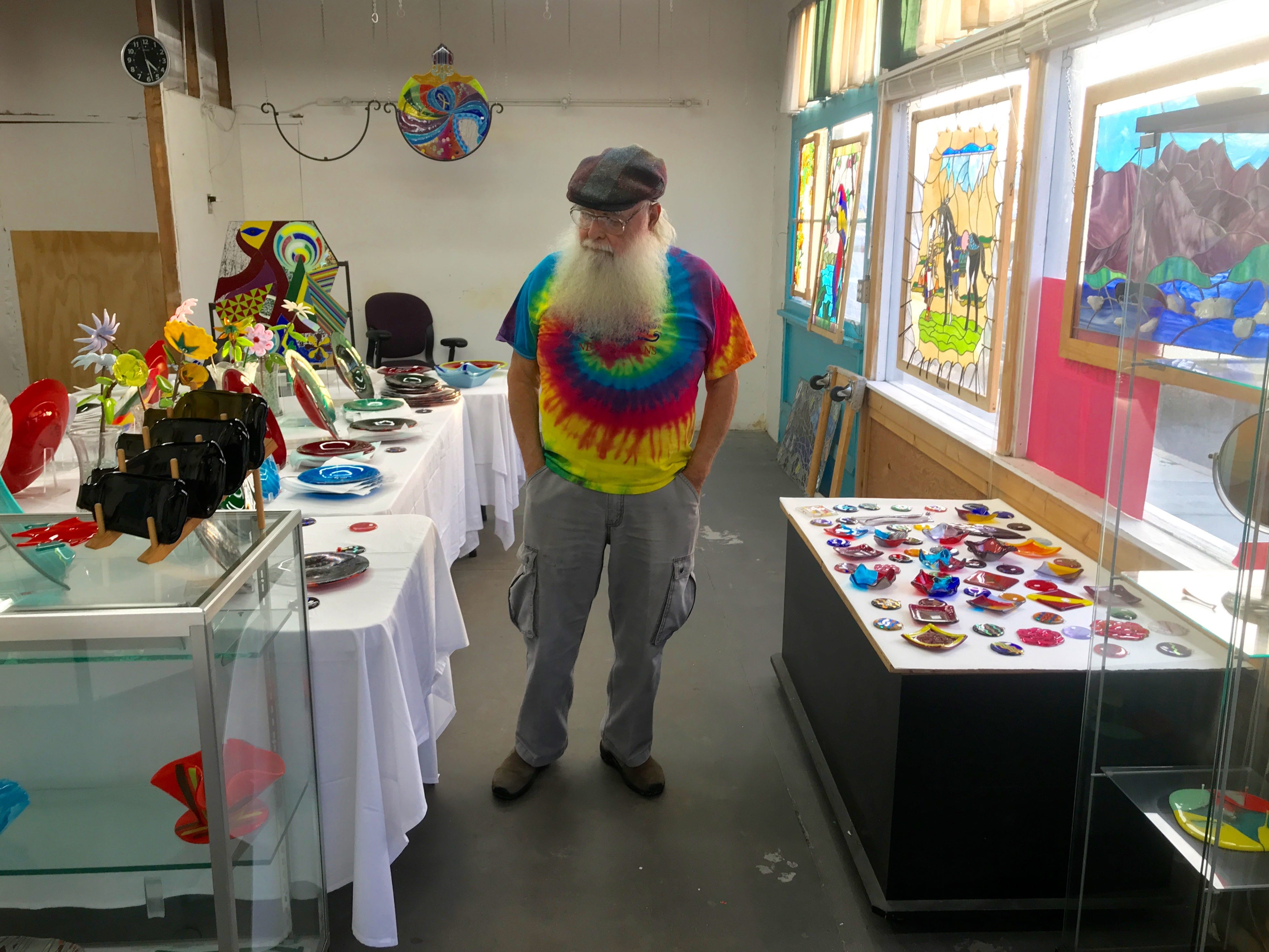 "Beglar ""Chief"" Merlich stands in his studio at the Bell Arts Factory. Merlich is closing the studio at the end of the week after 15 years in business."
