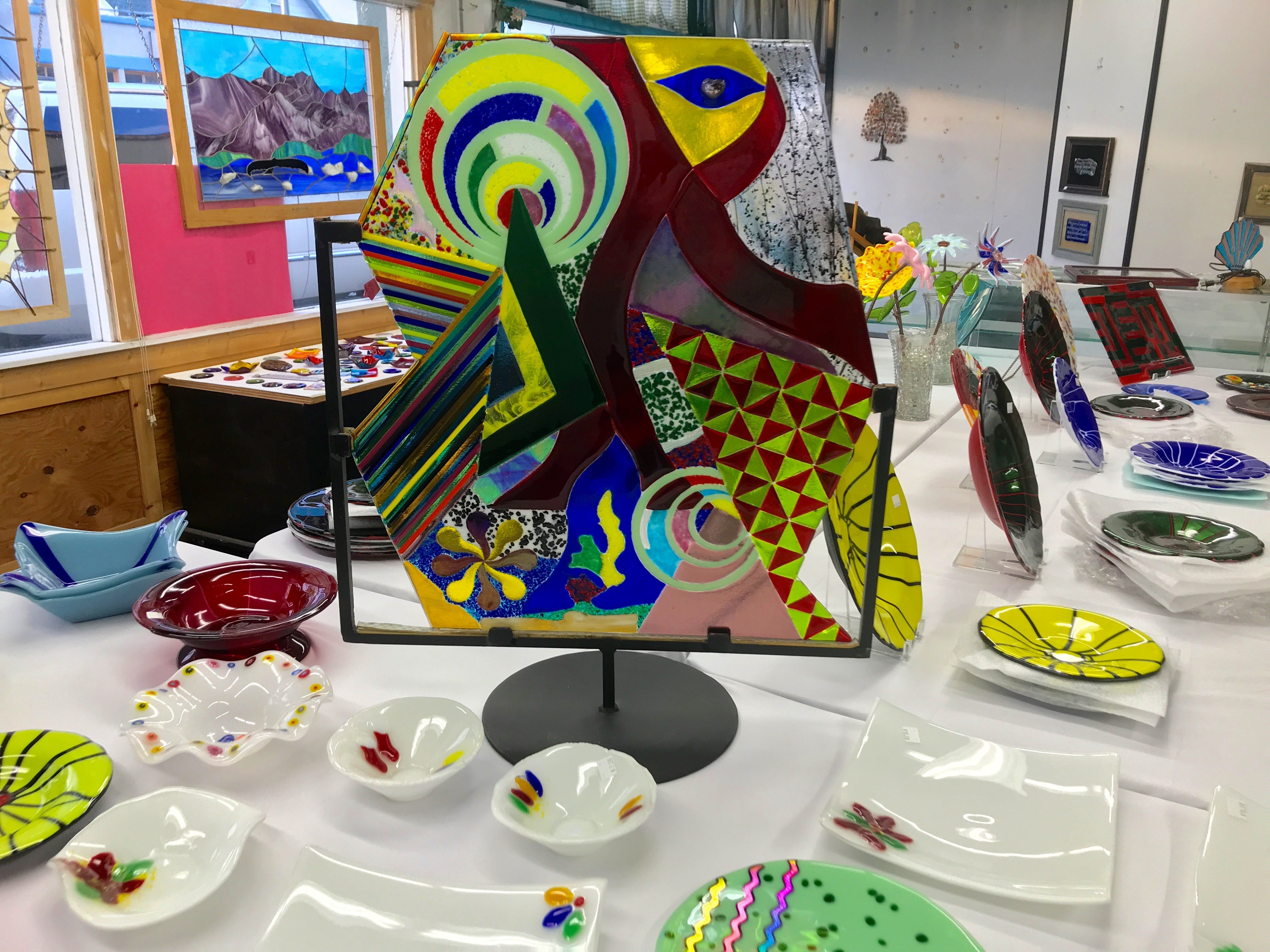 "This glass work is on display at Beglar ""Chief"" Merlich's studio at the Bell Arts Factory in Ventura."