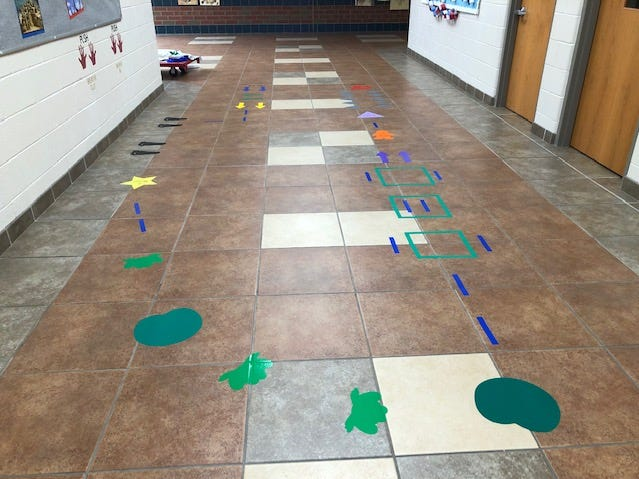 "Students, staff and the administration at Petway Elementary School worked together to create a ""Movement Maze."""