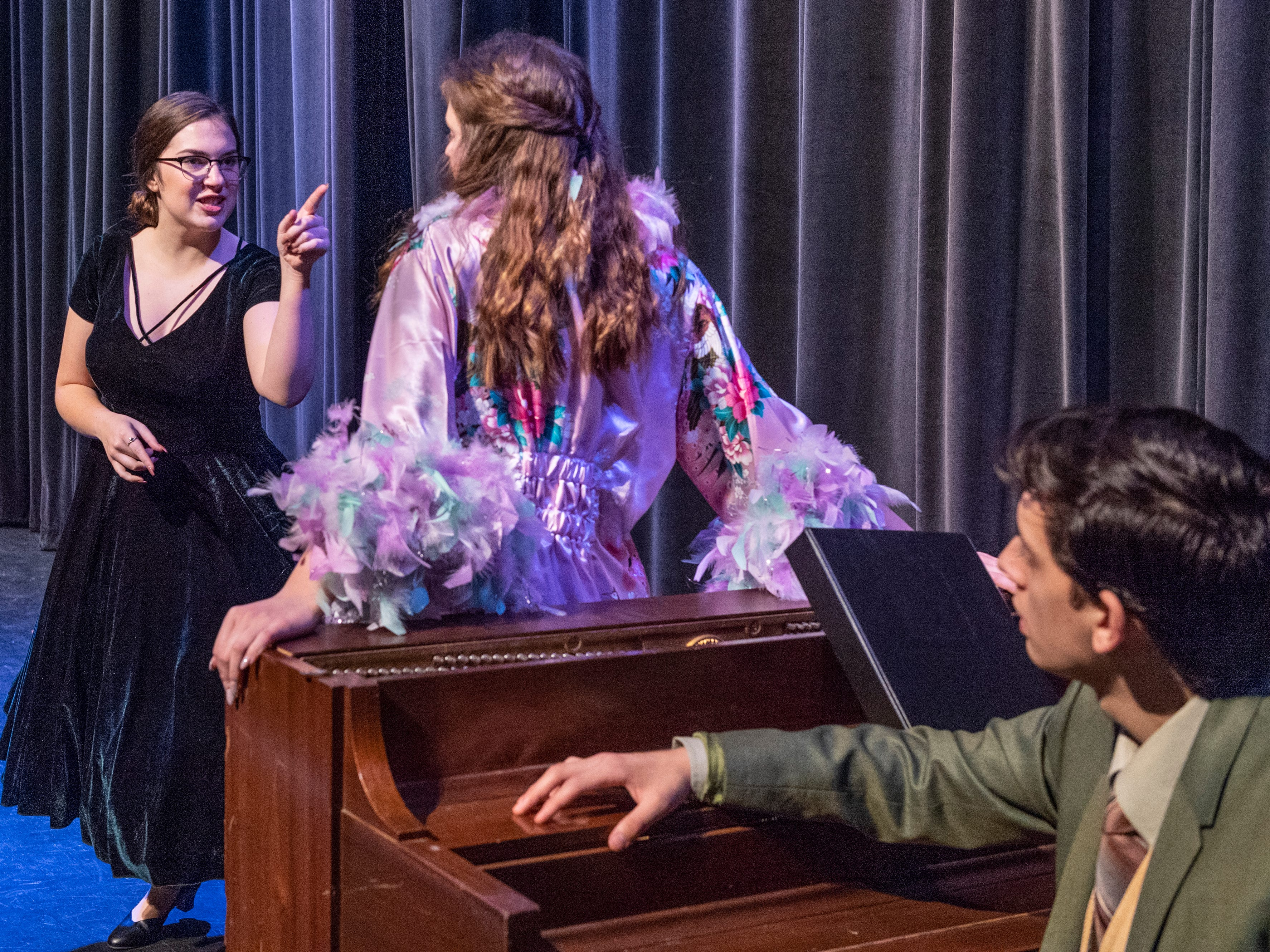Jessica Knight, left, Emma Newcomb and John Piper rehearse for El Diamante's production of the musical Curtains! at the L.J. Williams Community Theatre on Tuesday, January 8, 2019. The first of four performances is Thursday, January 17 at 7:30 p.m.