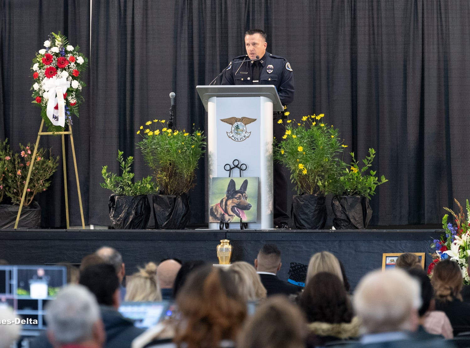 Tulare Interim Police Chief Matt Machado speaks during a memorial service for Tulare Police K-9 Bane on Wednesday. Bane was killed during an officer-involved shooting on December 9 of last year.