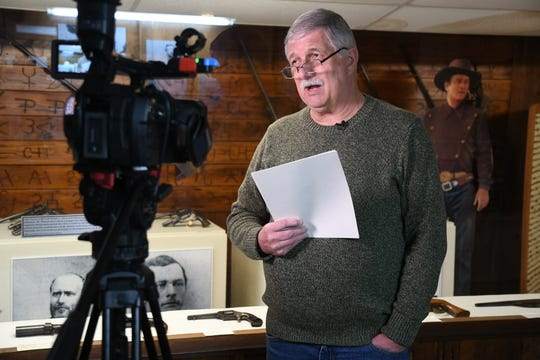 """C-SPAN crews interview local historian Terry Ommen for the network's """"Cities Tours"""" series."""